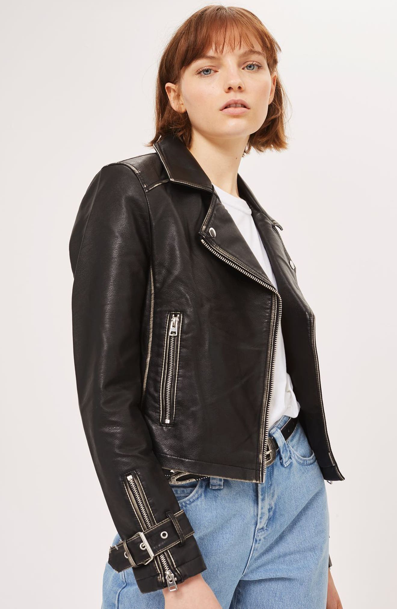 Washed Wolf Zipper Moto Jacket,                             Alternate thumbnail 4, color,                             001