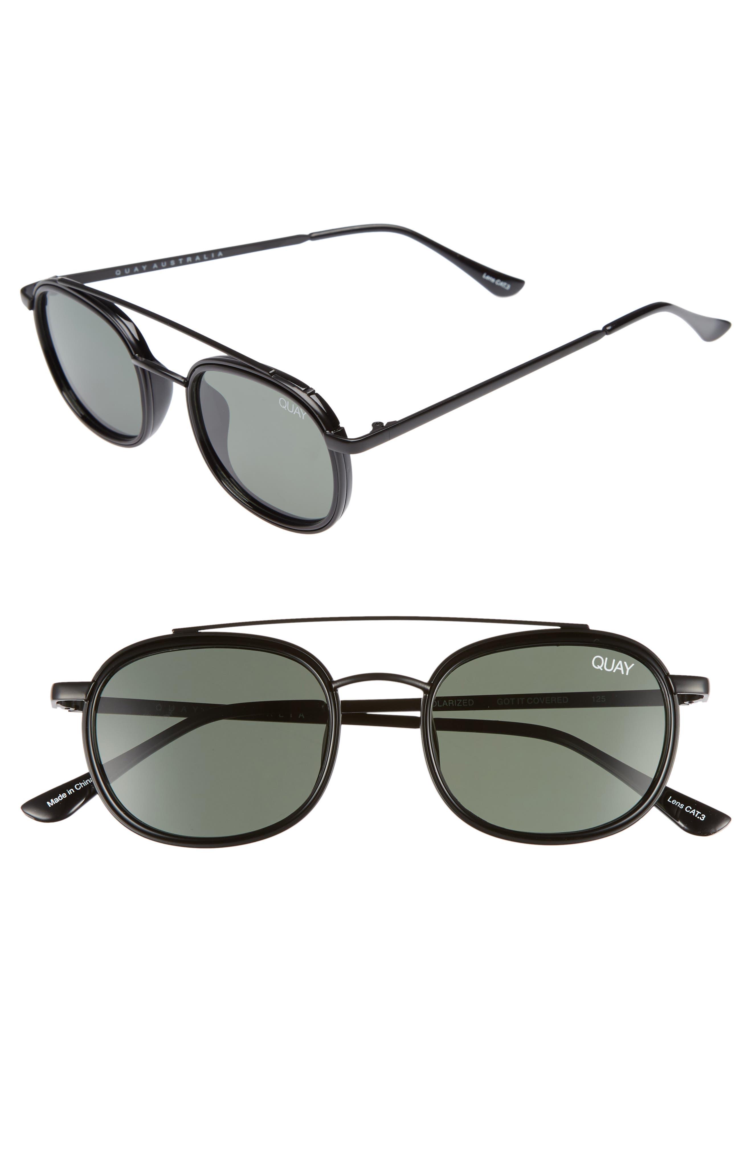 Got It Covered 50mm Polarized Sunglasses,                             Main thumbnail 1, color,                             BLACK / GREEN LENS