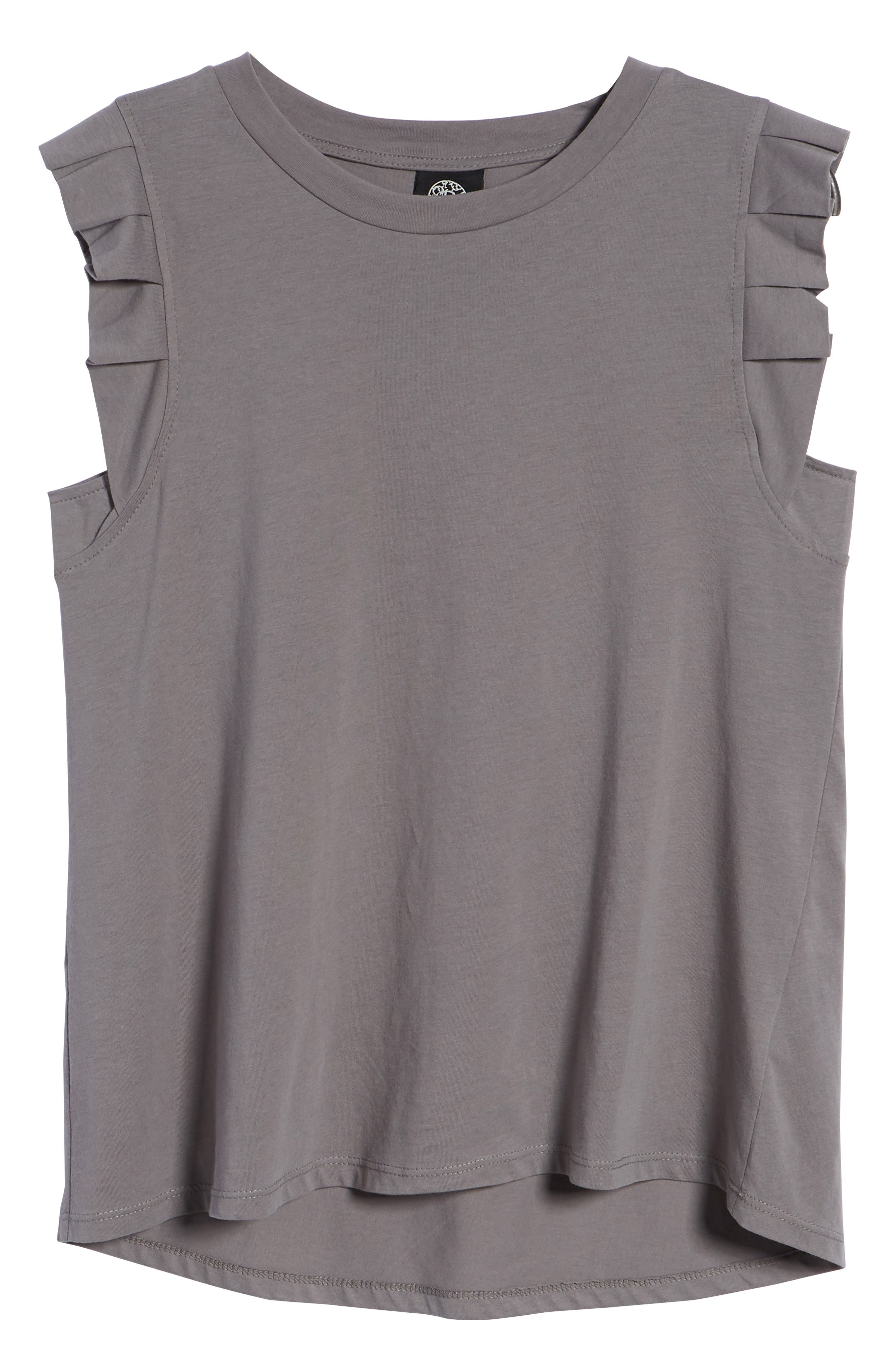 Pleat Ruffle Trim Tank,                             Alternate thumbnail 6, color,                             001