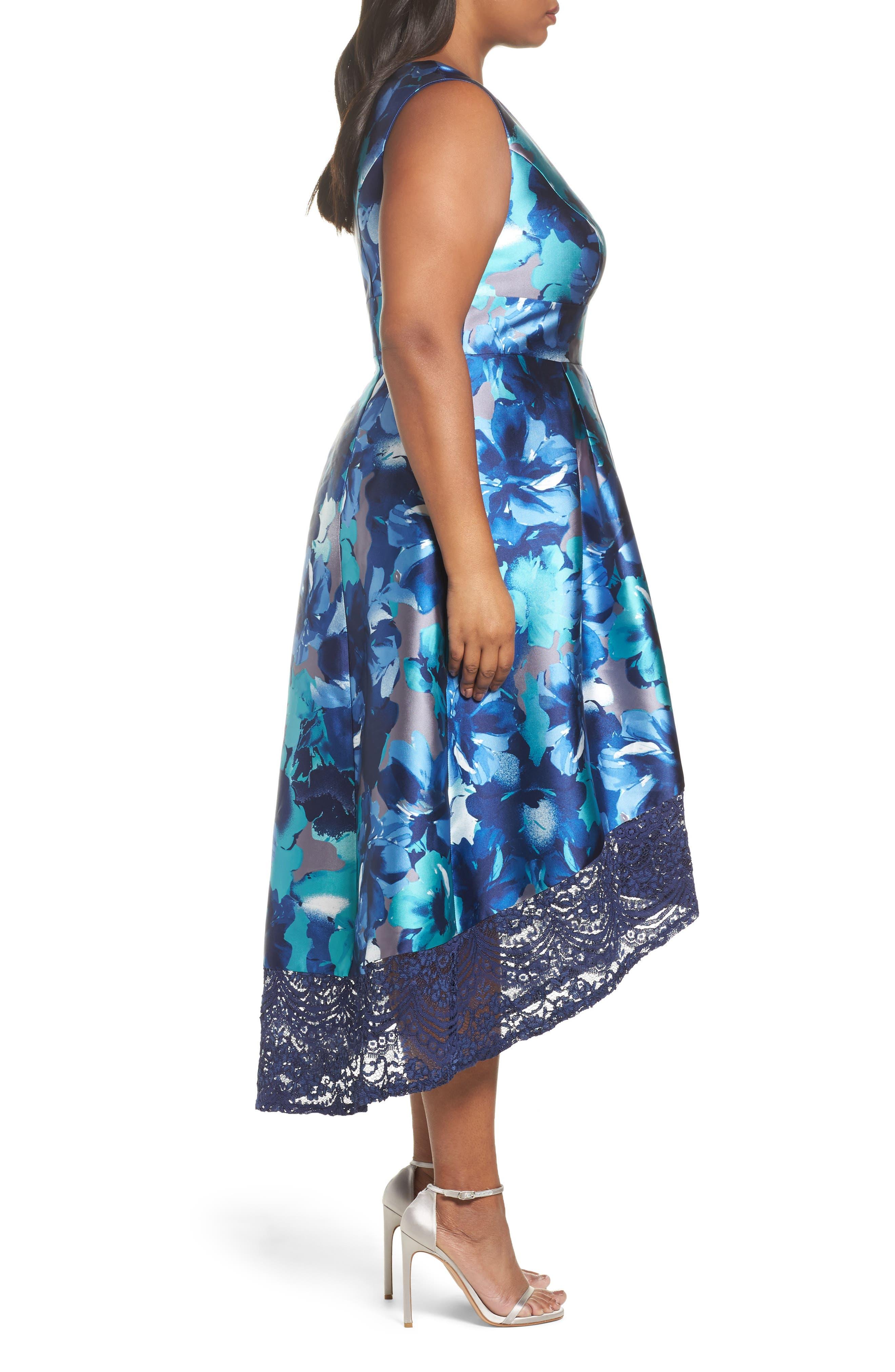 Watercolor Floral High/Low Dress,                             Alternate thumbnail 3, color,                             460