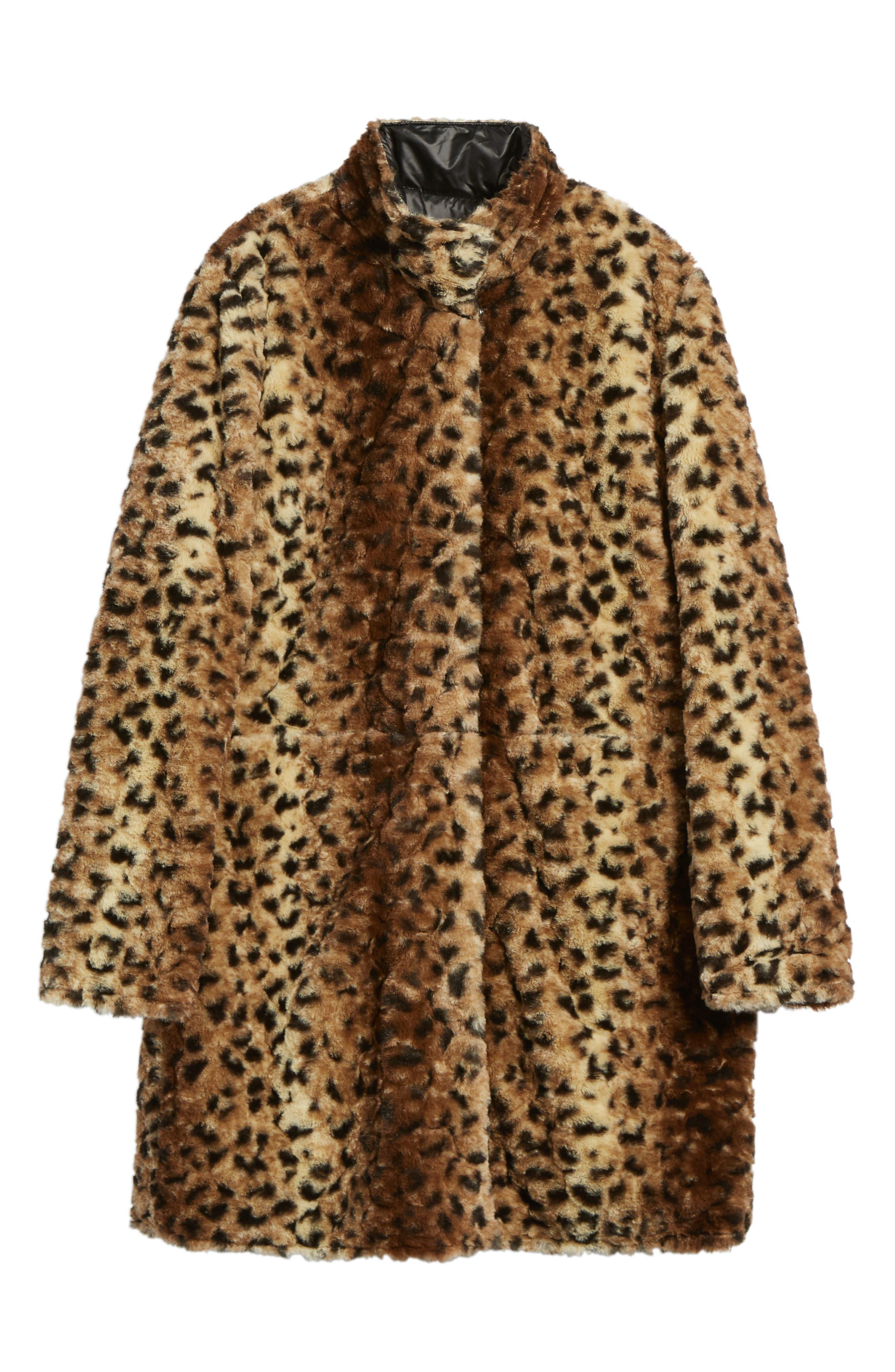 Reversible Faux Leopard Fur Coat,                             Alternate thumbnail 11, color,