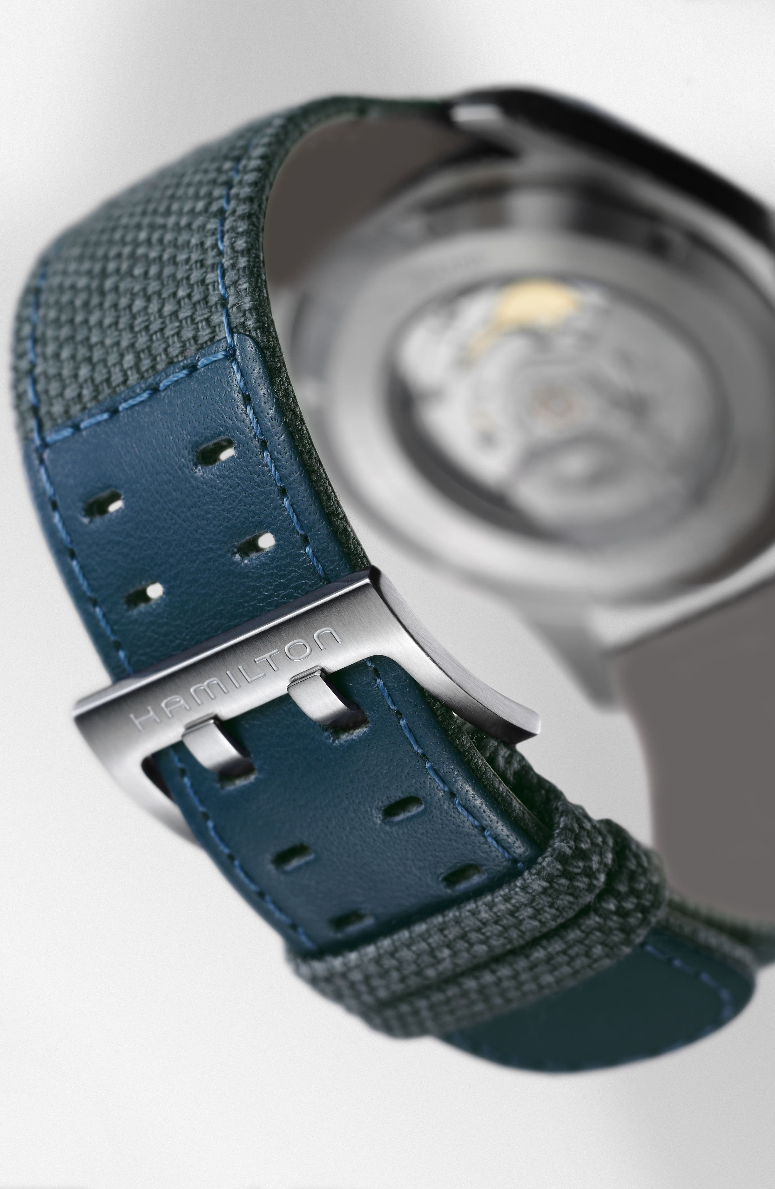 Khaki Field Automatic Canvas Strap Watch, 42mm,                             Alternate thumbnail 2, color,                             BLUE/ SILVER