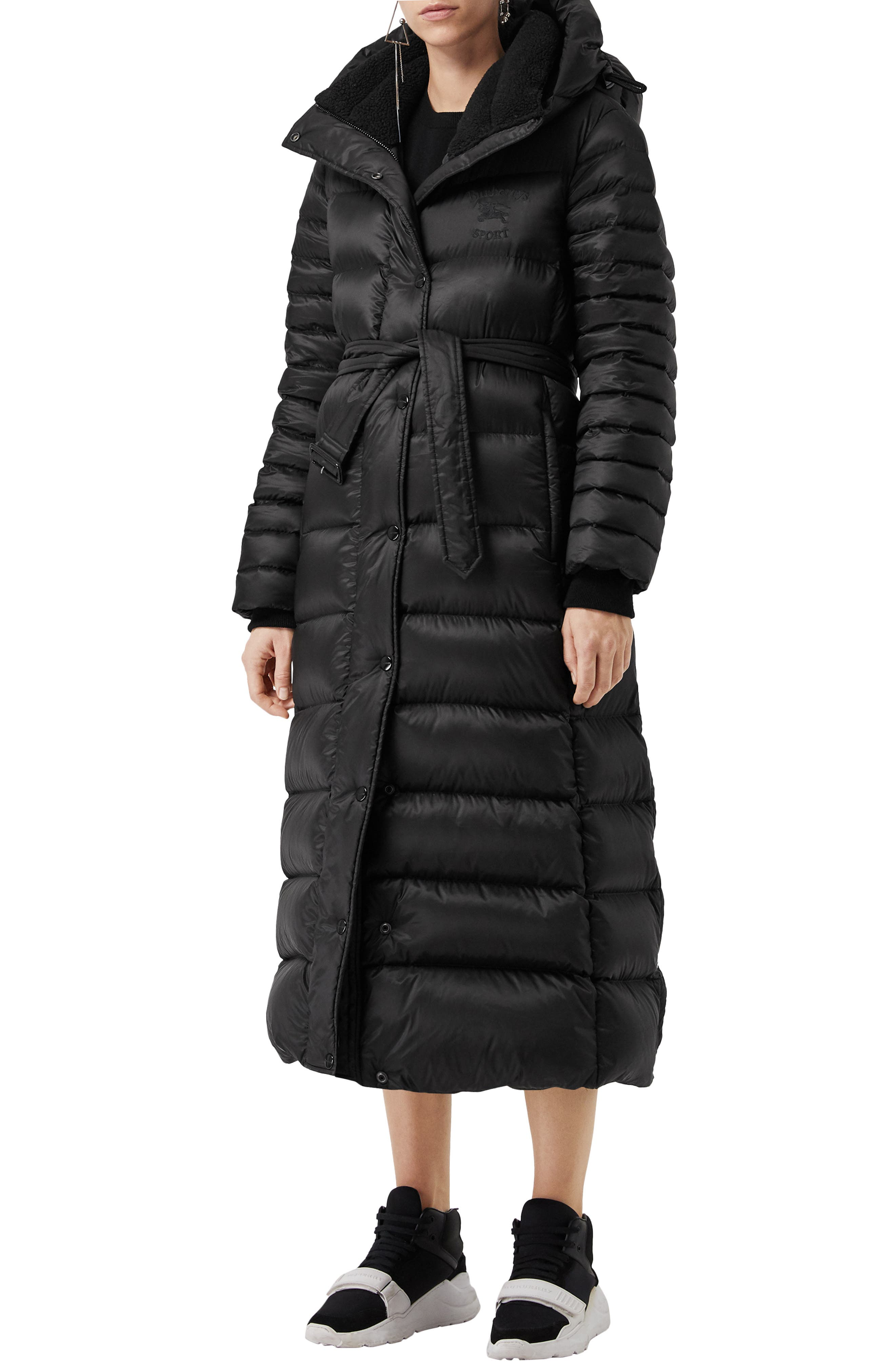 Kington Faux Fur Trim Long Down Coat,                             Main thumbnail 1, color,                             BLACK