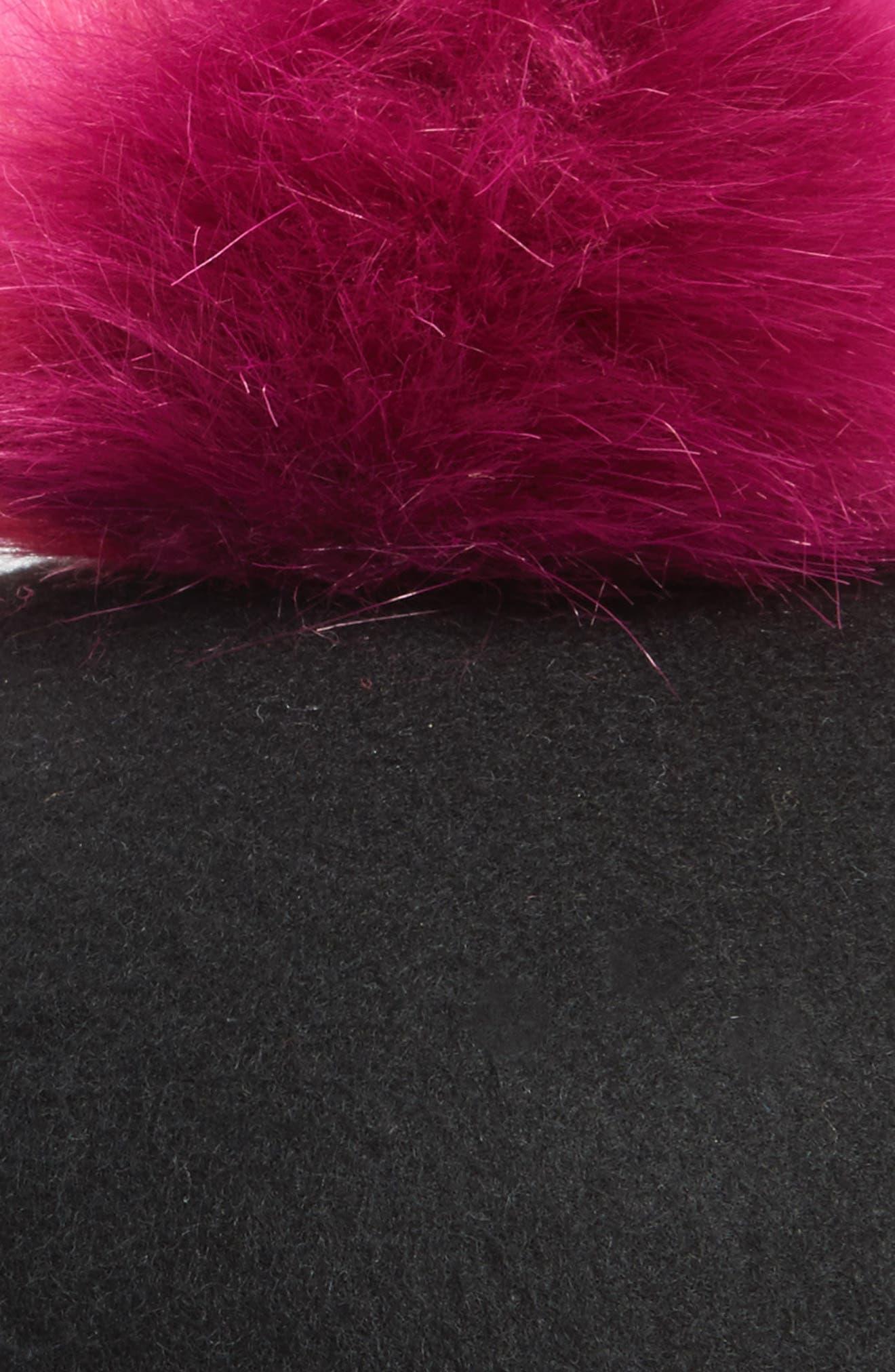 Faux Fur Pom Jockey Cap,                             Alternate thumbnail 5, color,