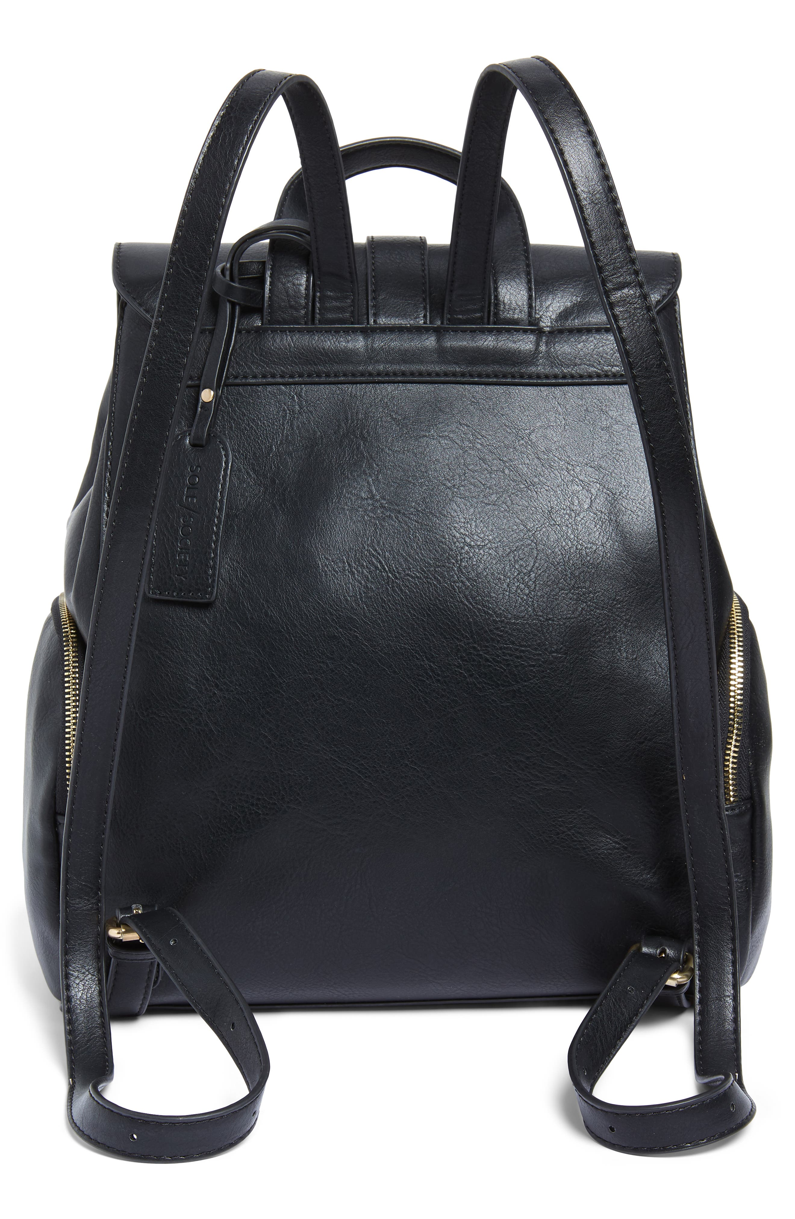 Marah Faux Leather Backpack,                             Alternate thumbnail 3, color,                             BLACK