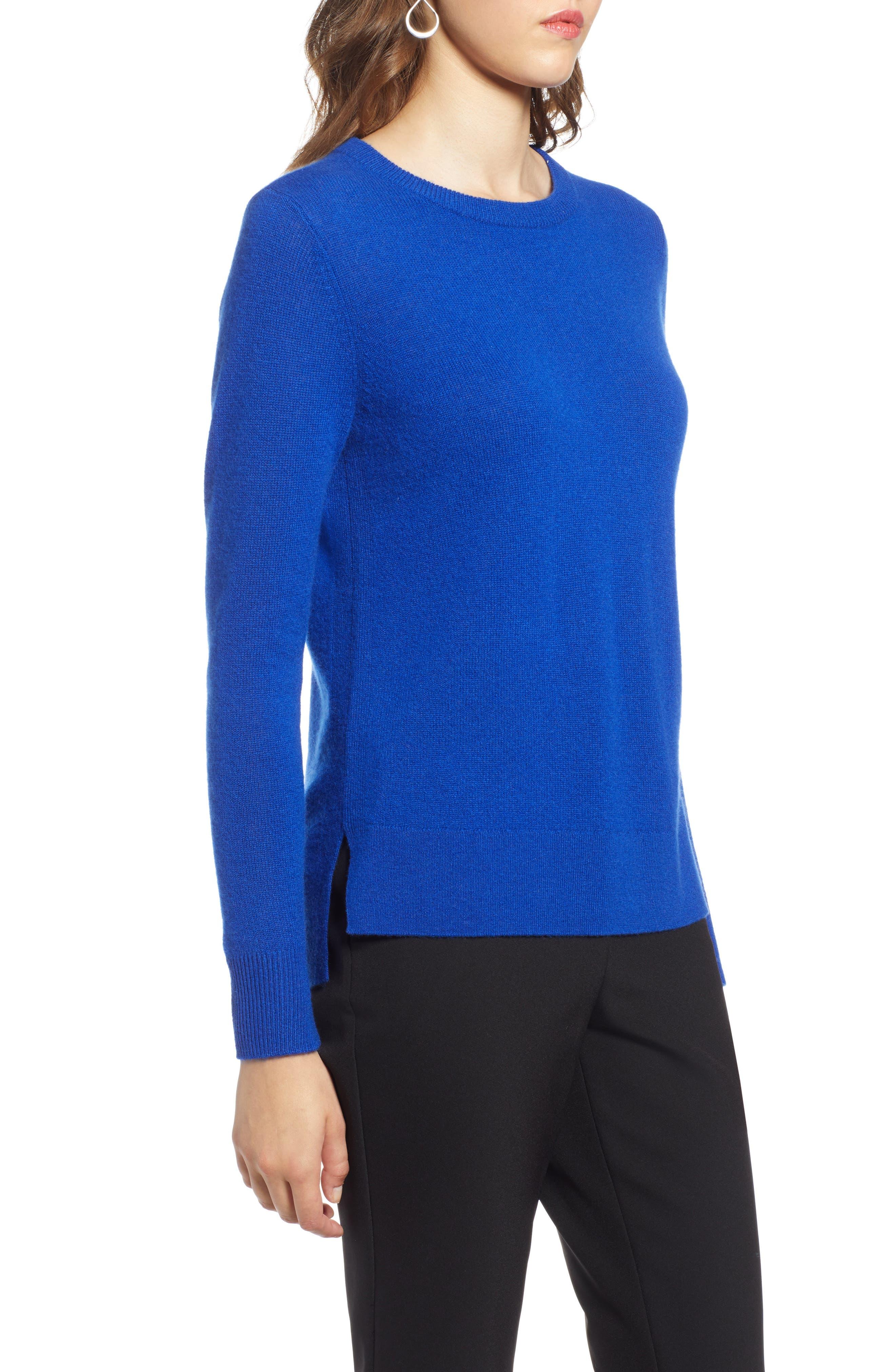 Crewneck Cashmere Sweater,                             Alternate thumbnail 3, color,                             BLUE MAZARINE