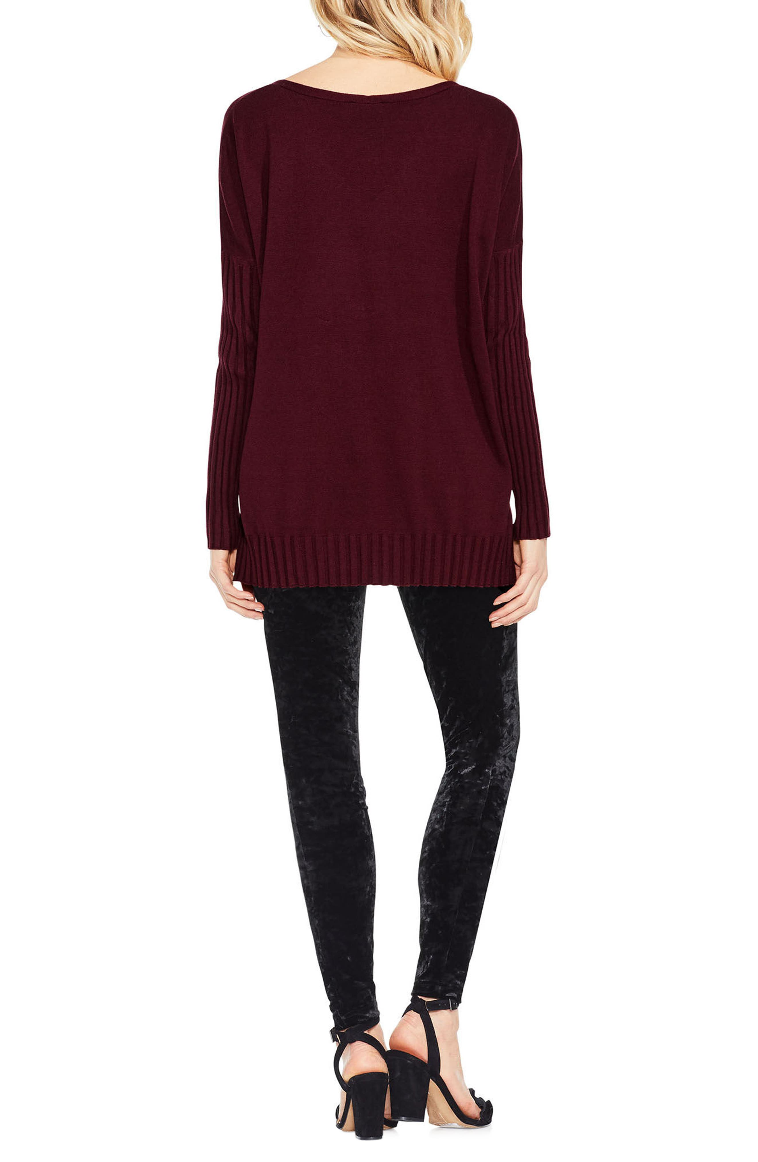 Ribbed Sleeve Sweater,                             Alternate thumbnail 7, color,