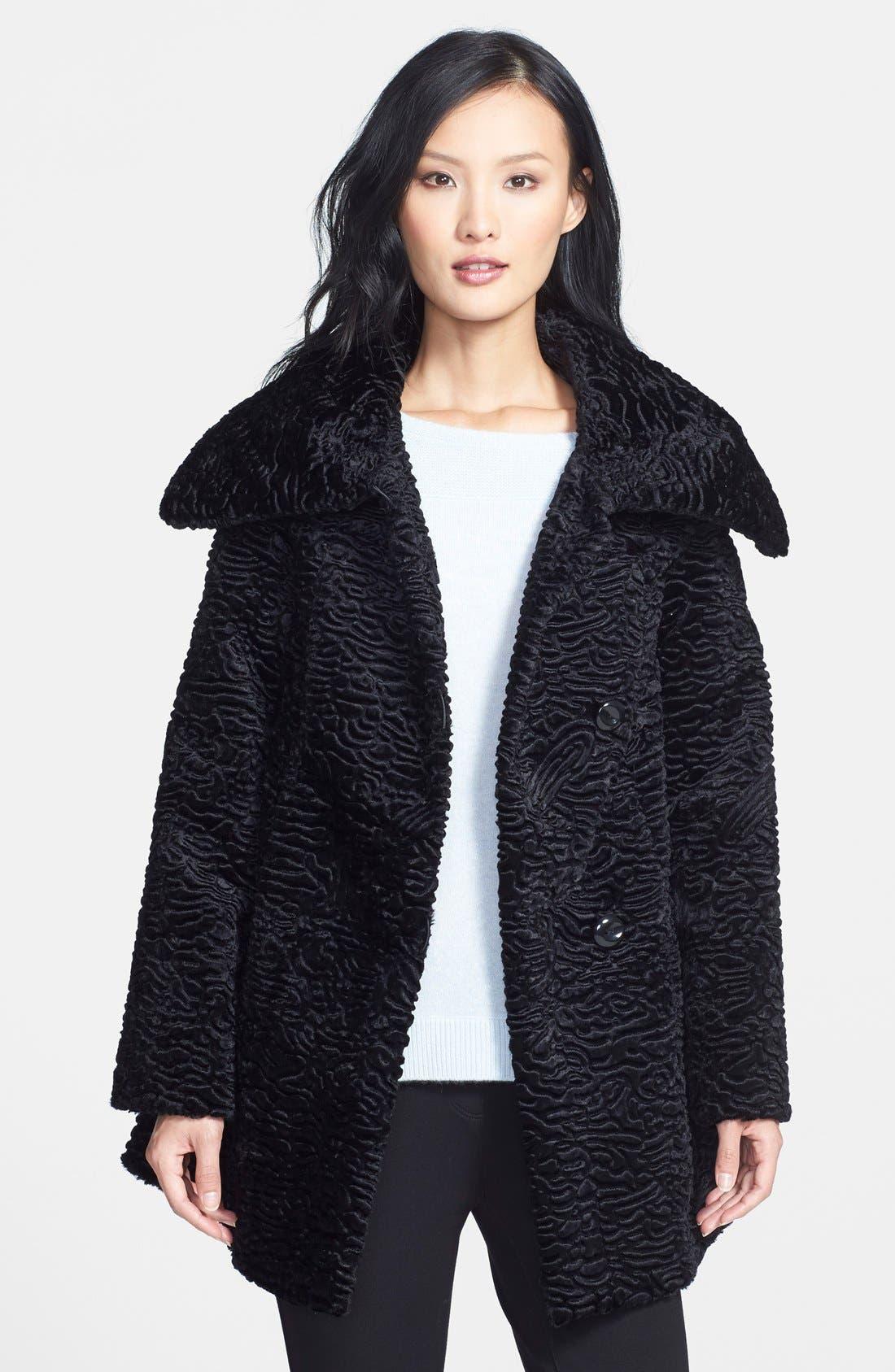 Faux Persian Lamb Fur Swing Coat,                             Main thumbnail 1, color,                             001