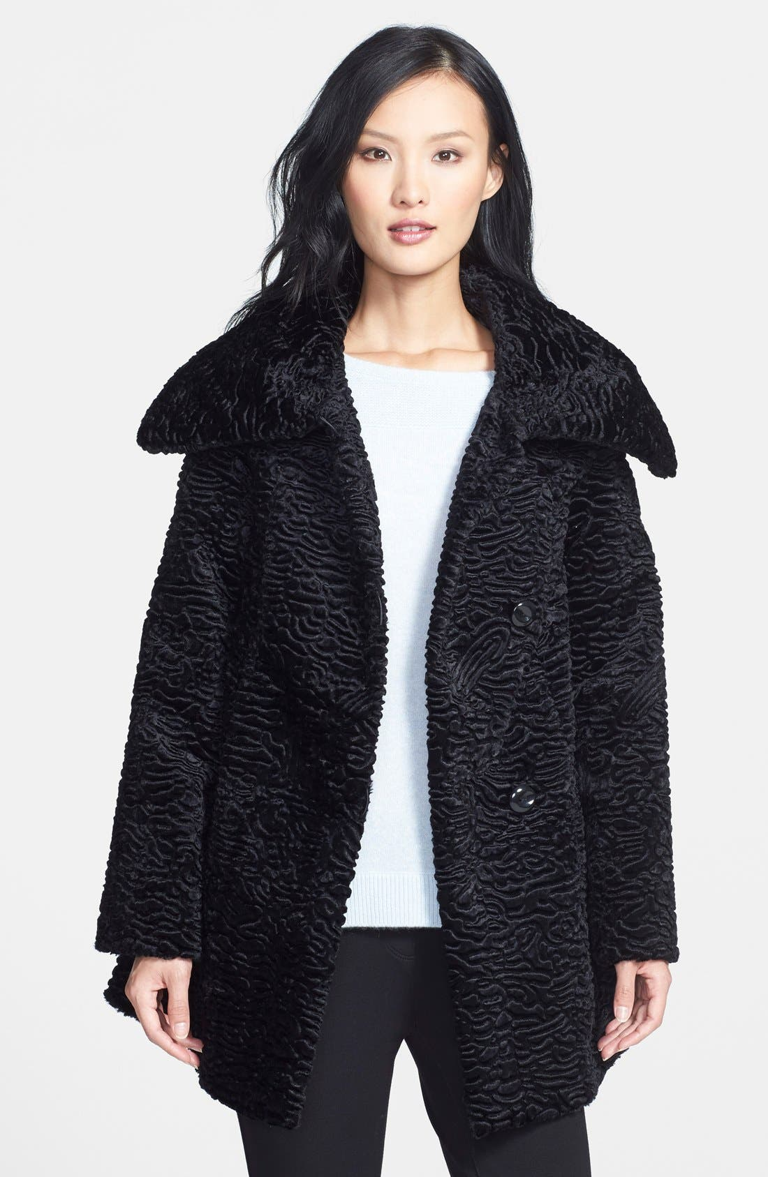 Faux Persian Lamb Fur Swing Coat, Main, color, 001