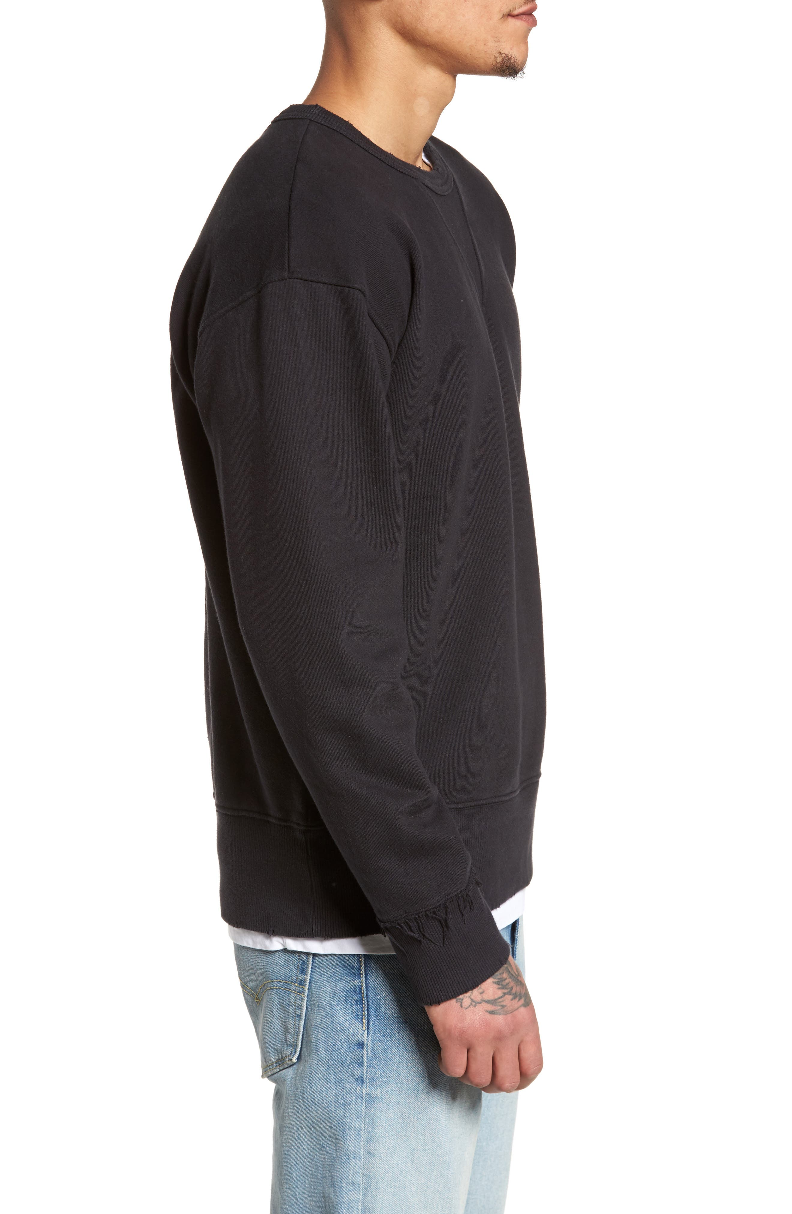 Distressed Sweatshirt,                             Alternate thumbnail 3, color,                             001
