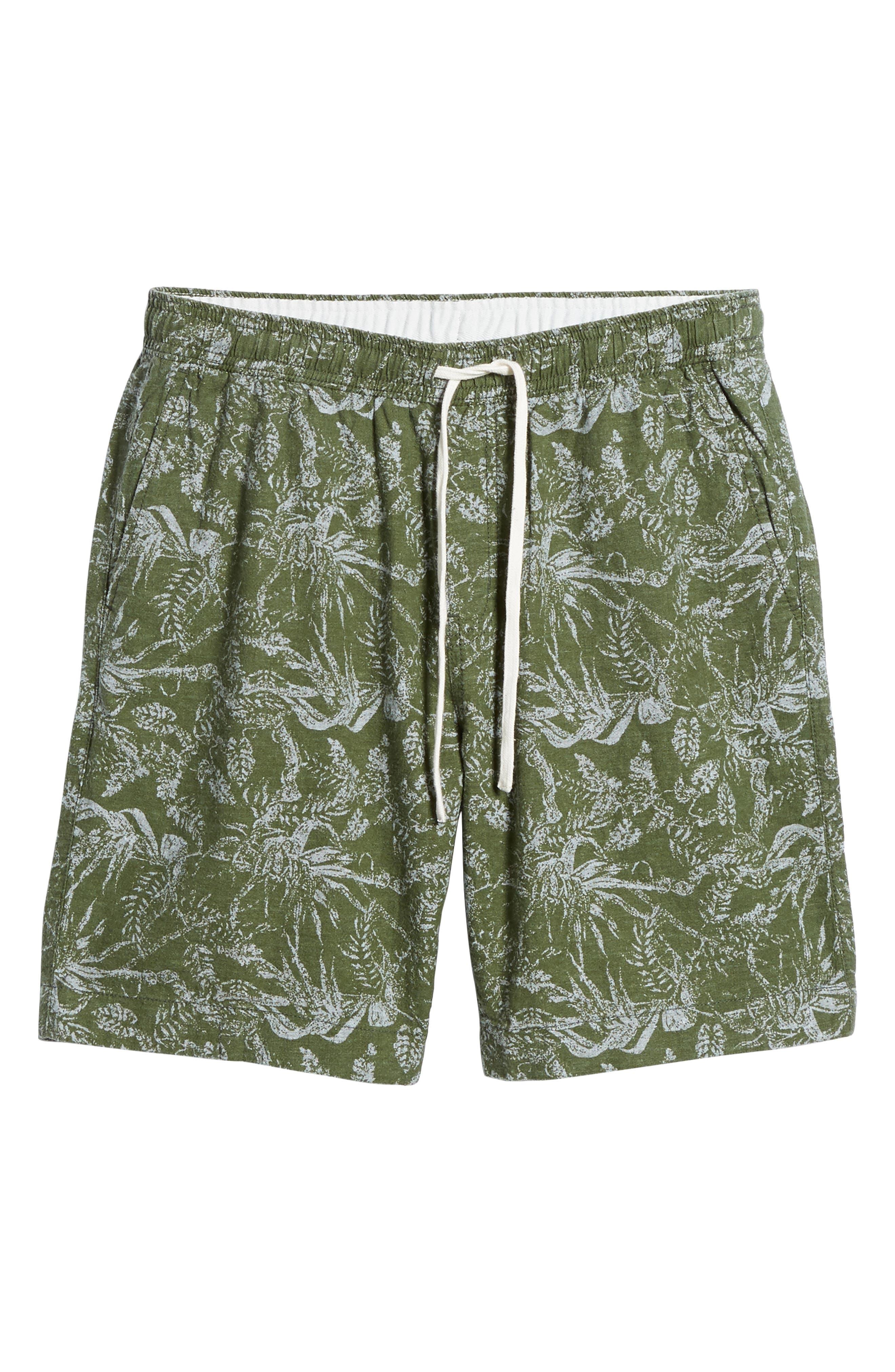 E-Waist Print Linen Blend Shorts,                             Alternate thumbnail 6, color,                             310