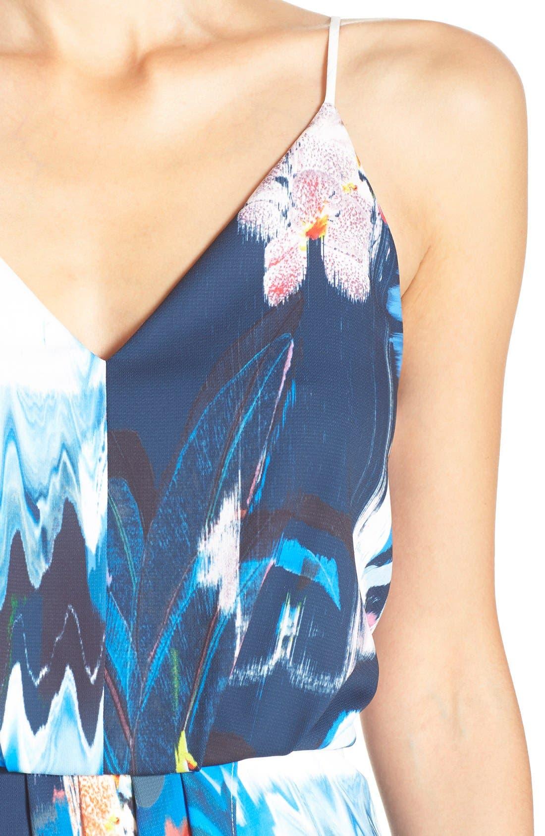 Print Faux Wrap Dress,                             Alternate thumbnail 11, color,                             BLUE WATERCOLOR FLORAL PRINT
