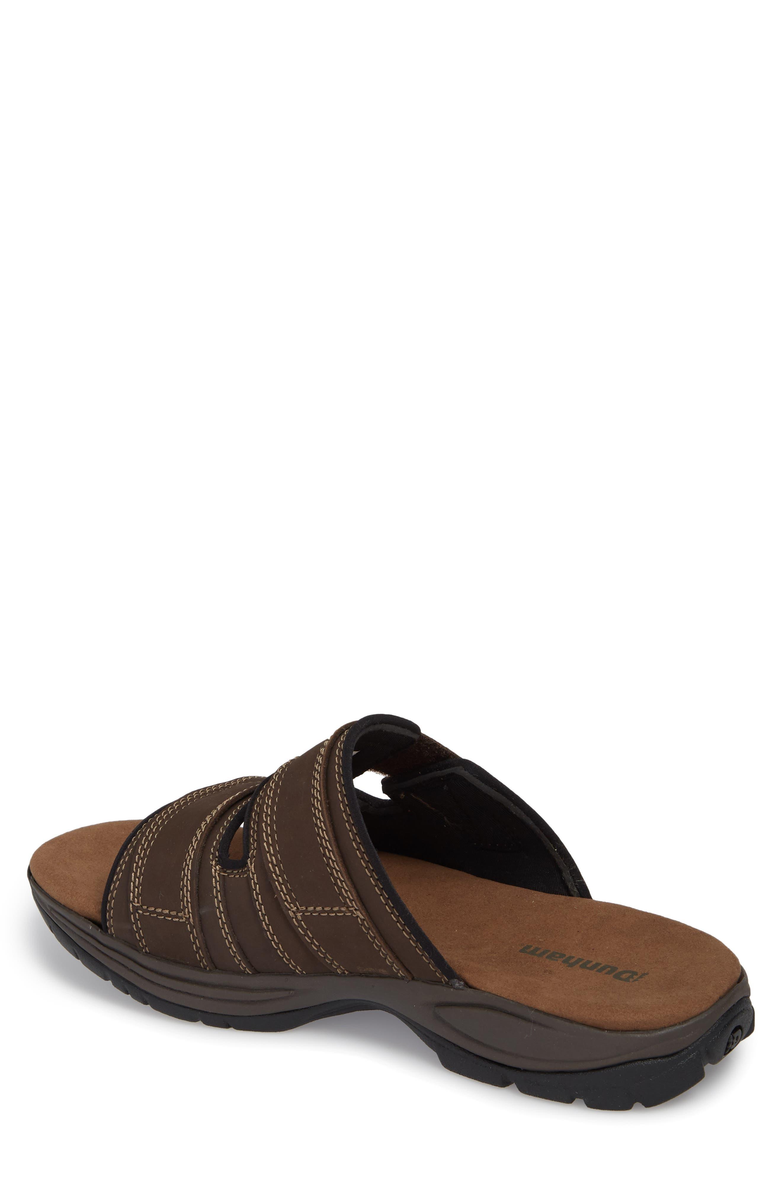 Newport Slide Sandal,                             Alternate thumbnail 2, color,                             DARK BROWN LEATHER