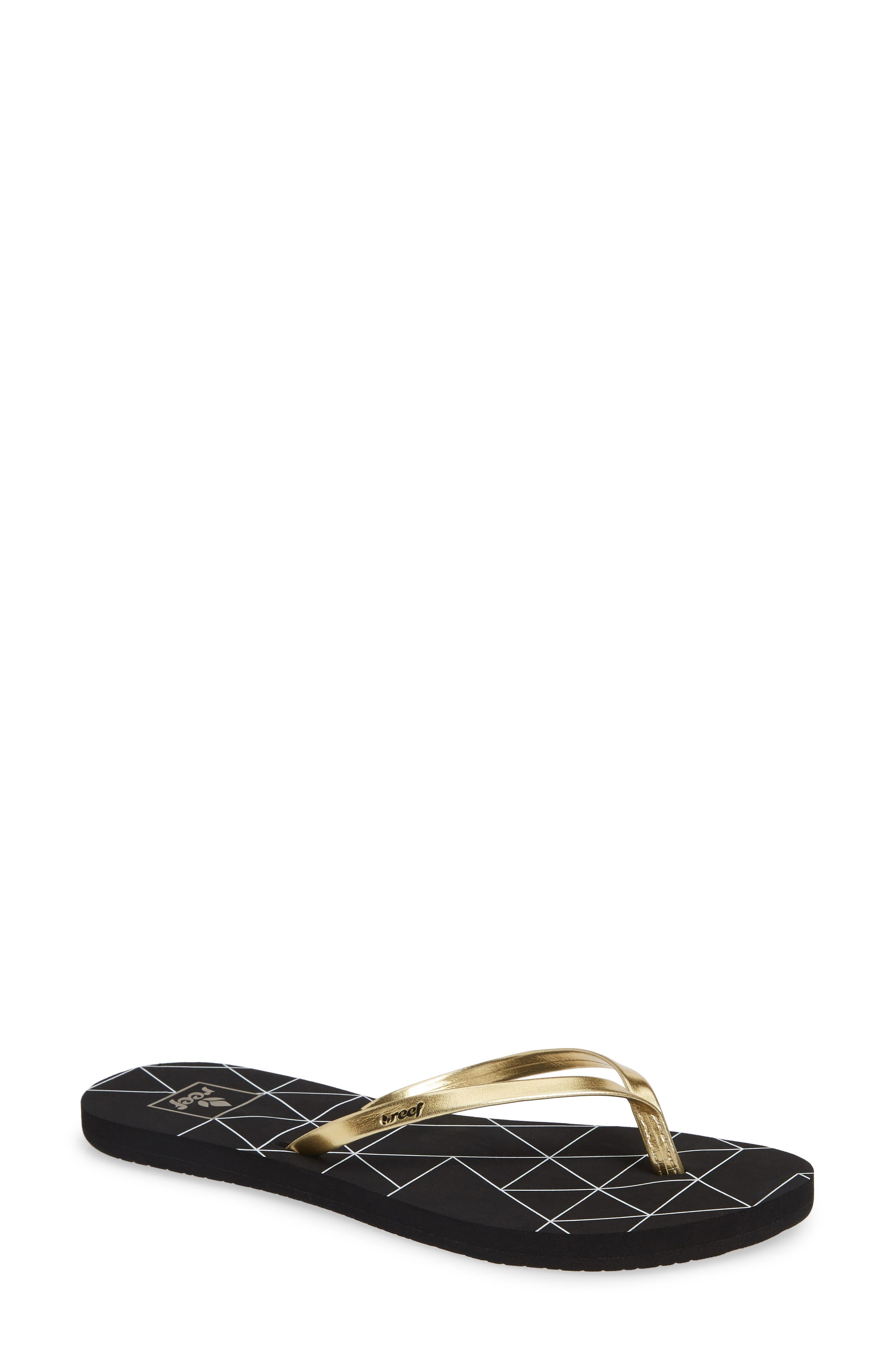 REEF Bliss-Full Flip Flop in Gold Pyramids