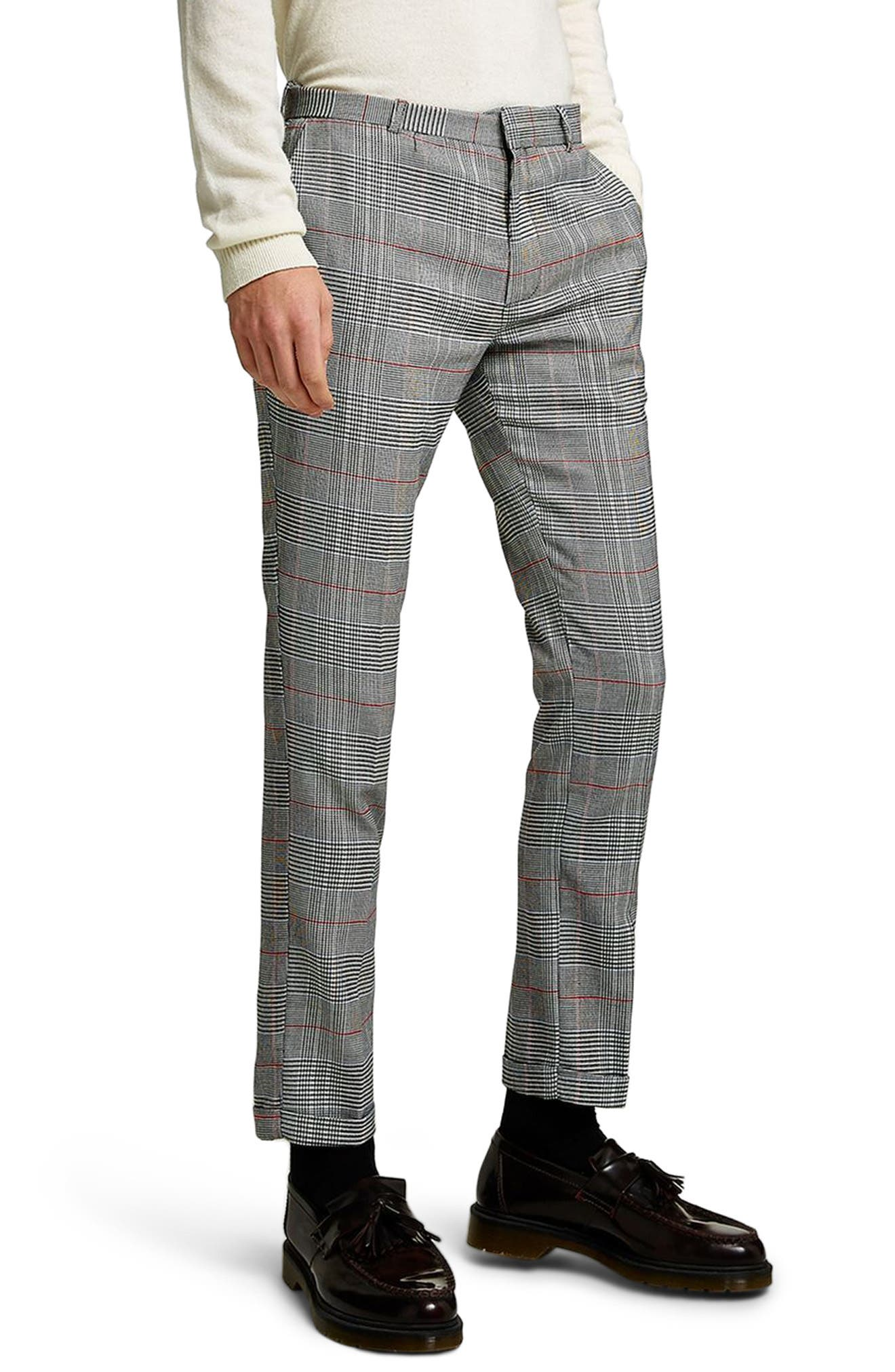 Skinny Fit Check Trousers,                             Main thumbnail 1, color,