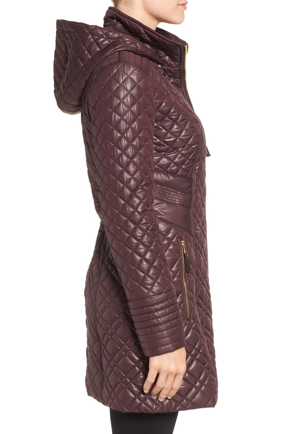 Tassel Detail Hooded Mix Quilt Coat,                             Alternate thumbnail 15, color,