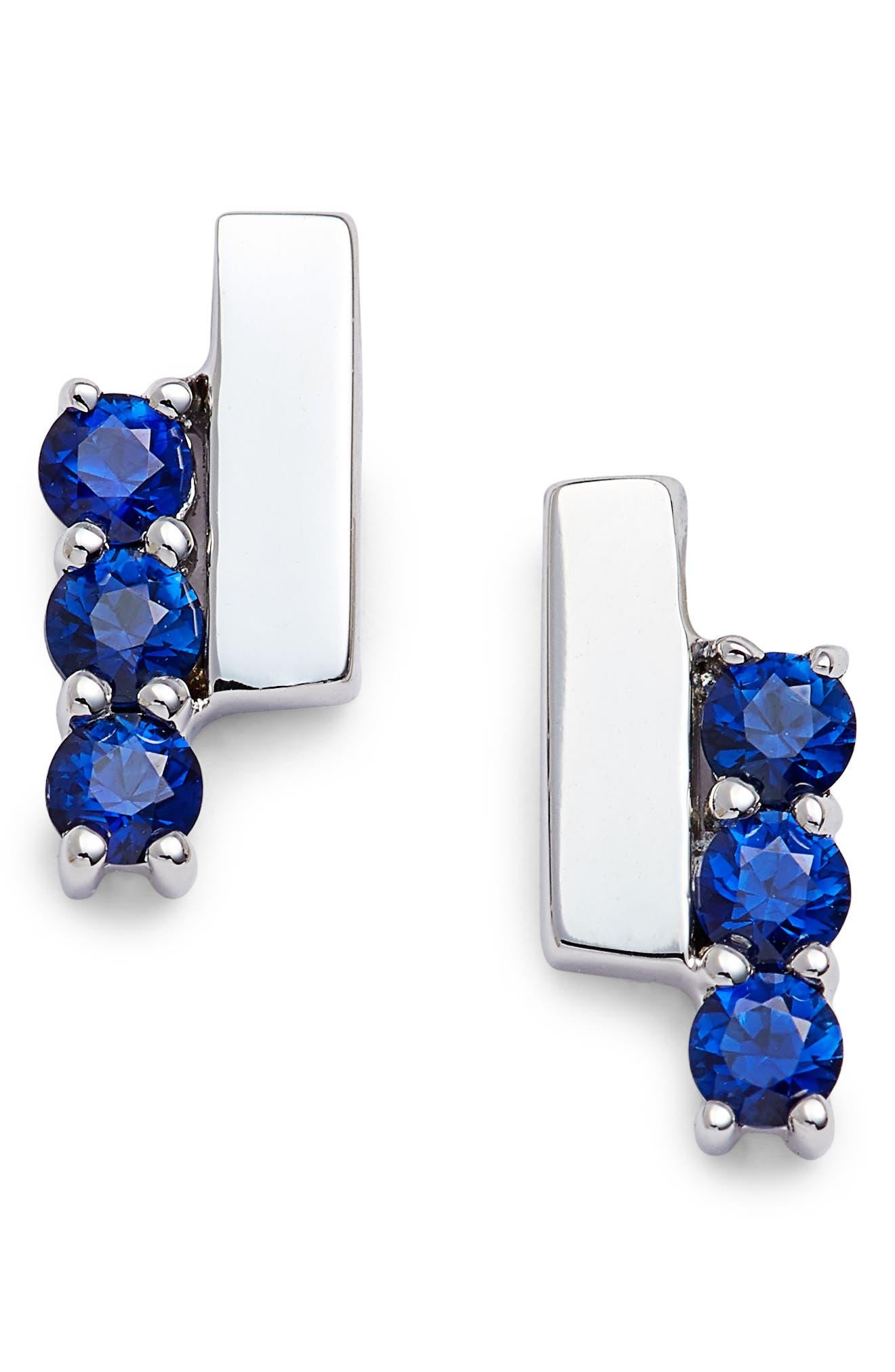 Sylvie Rose Sapphire Bar Stud Earrings,                             Main thumbnail 1, color,                             WHITE GOLD/ BLUE SAPPHIRE