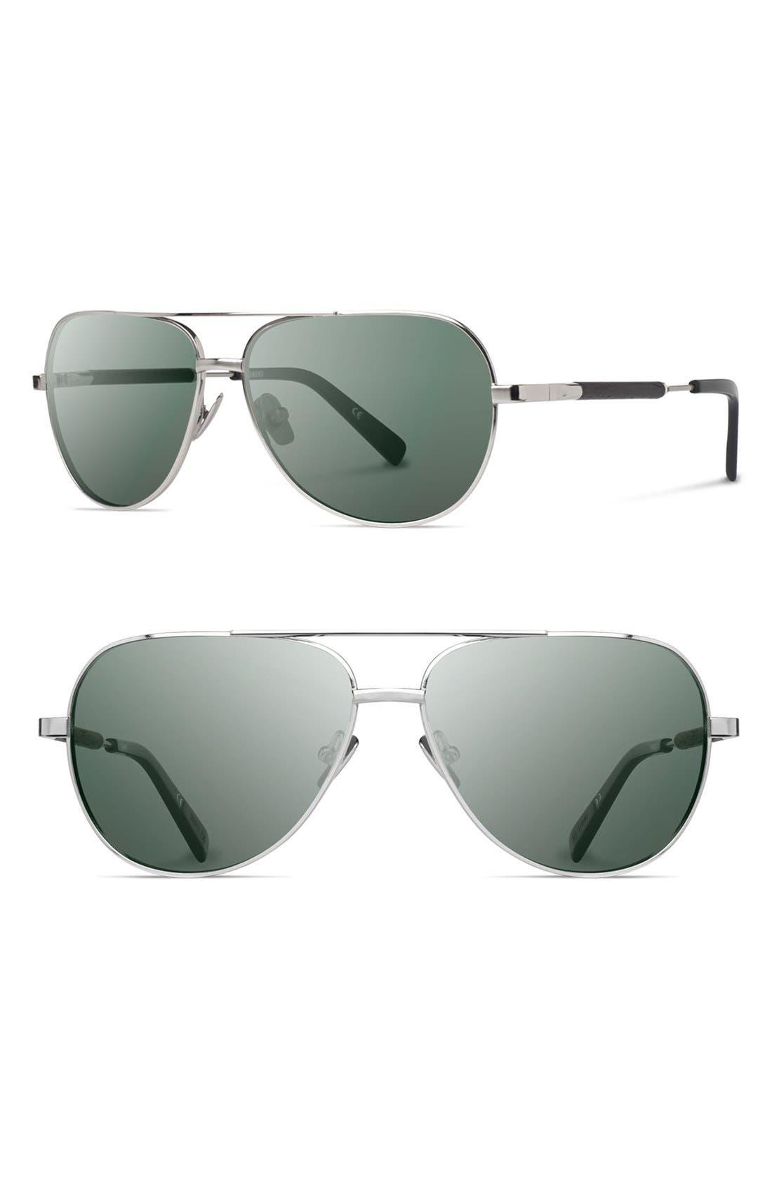 'Redmond' 58mm Titanium & Wood Sunglasses,                             Main thumbnail 1, color,                             004
