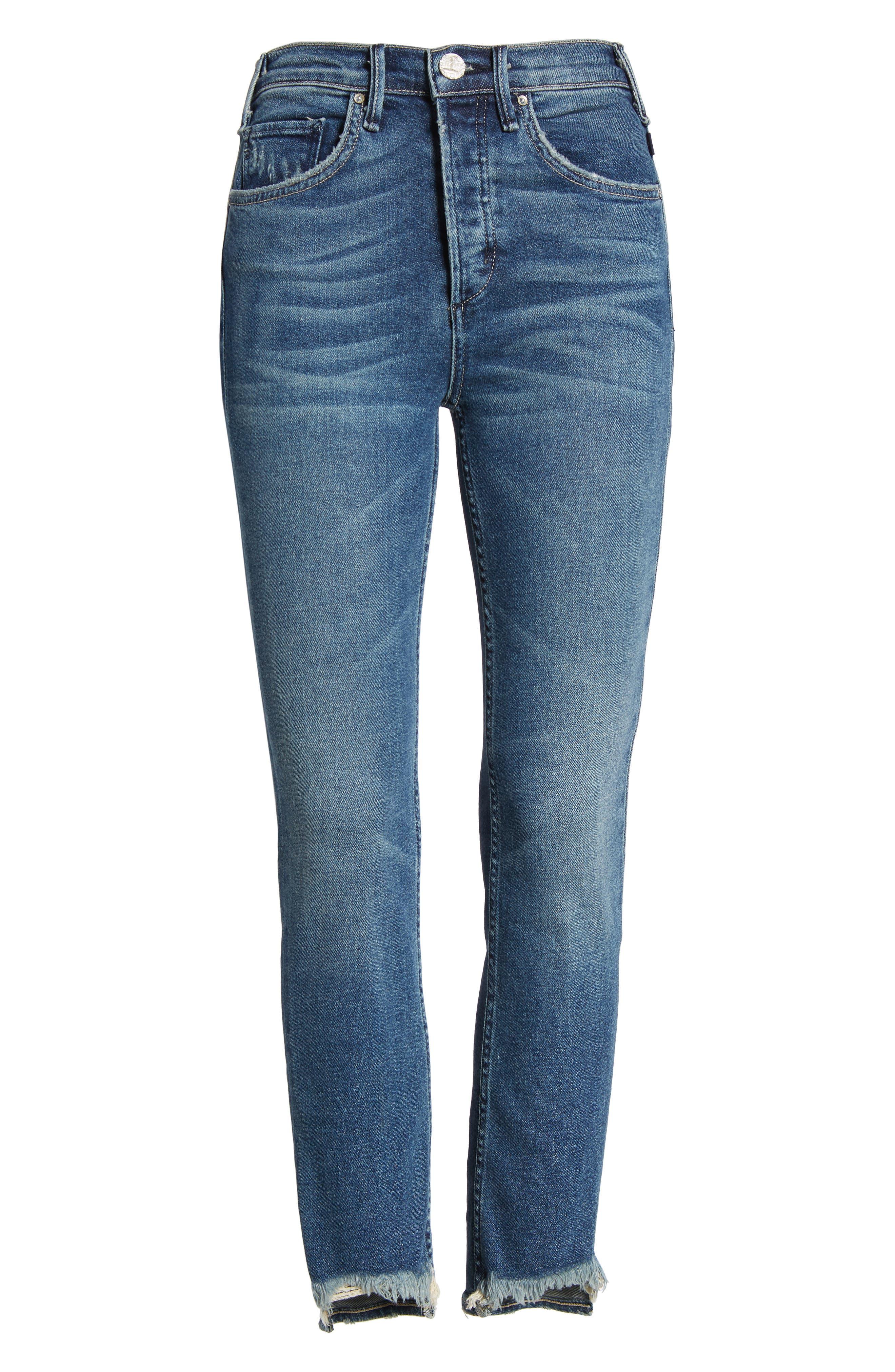 Valetta High Waist Crop Straight Leg Jeans,                             Alternate thumbnail 7, color,                             WAY UP NORTH