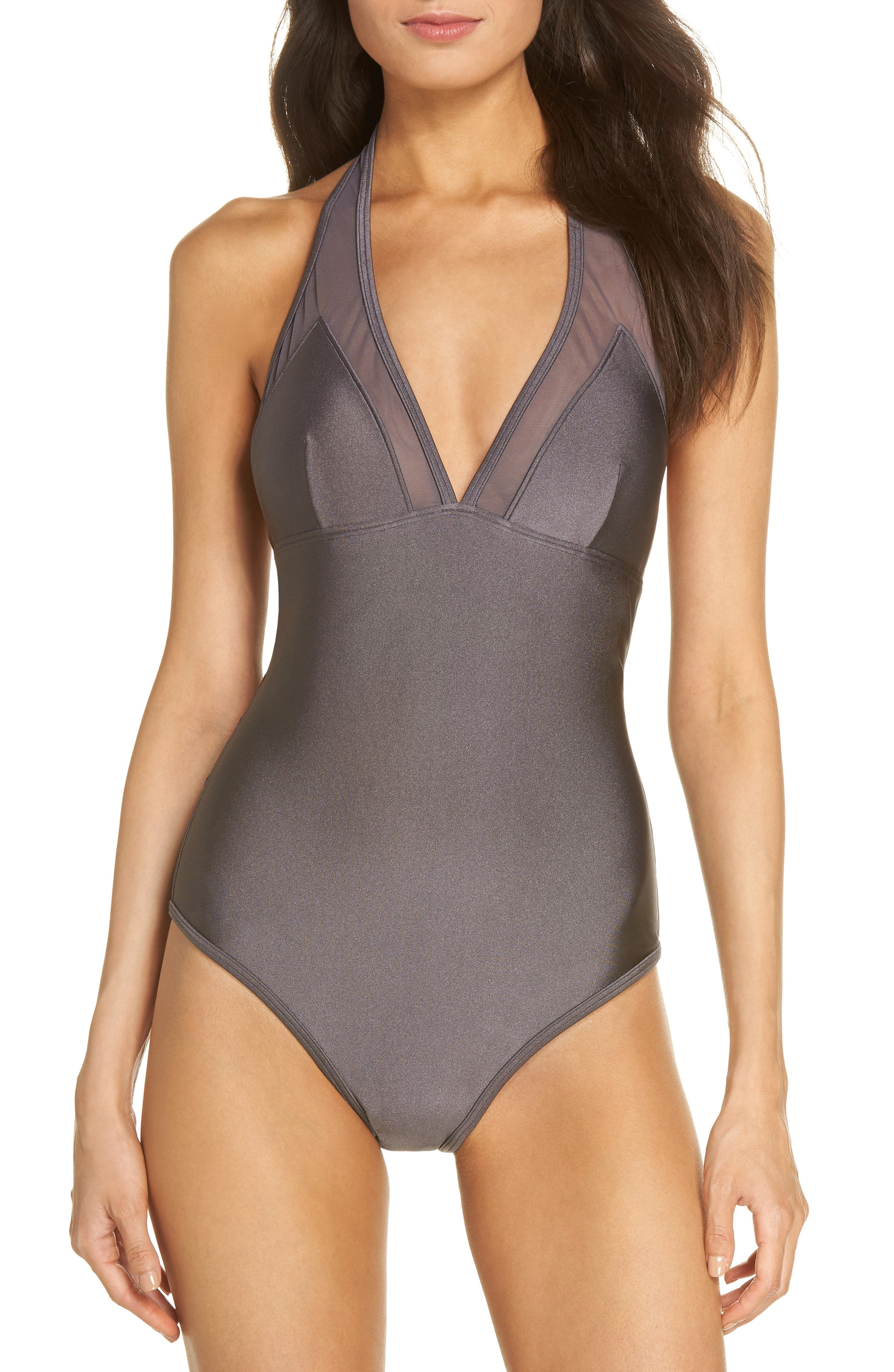 Mesh Panel One-Piece Swimsuit,                         Main,                         color, 021