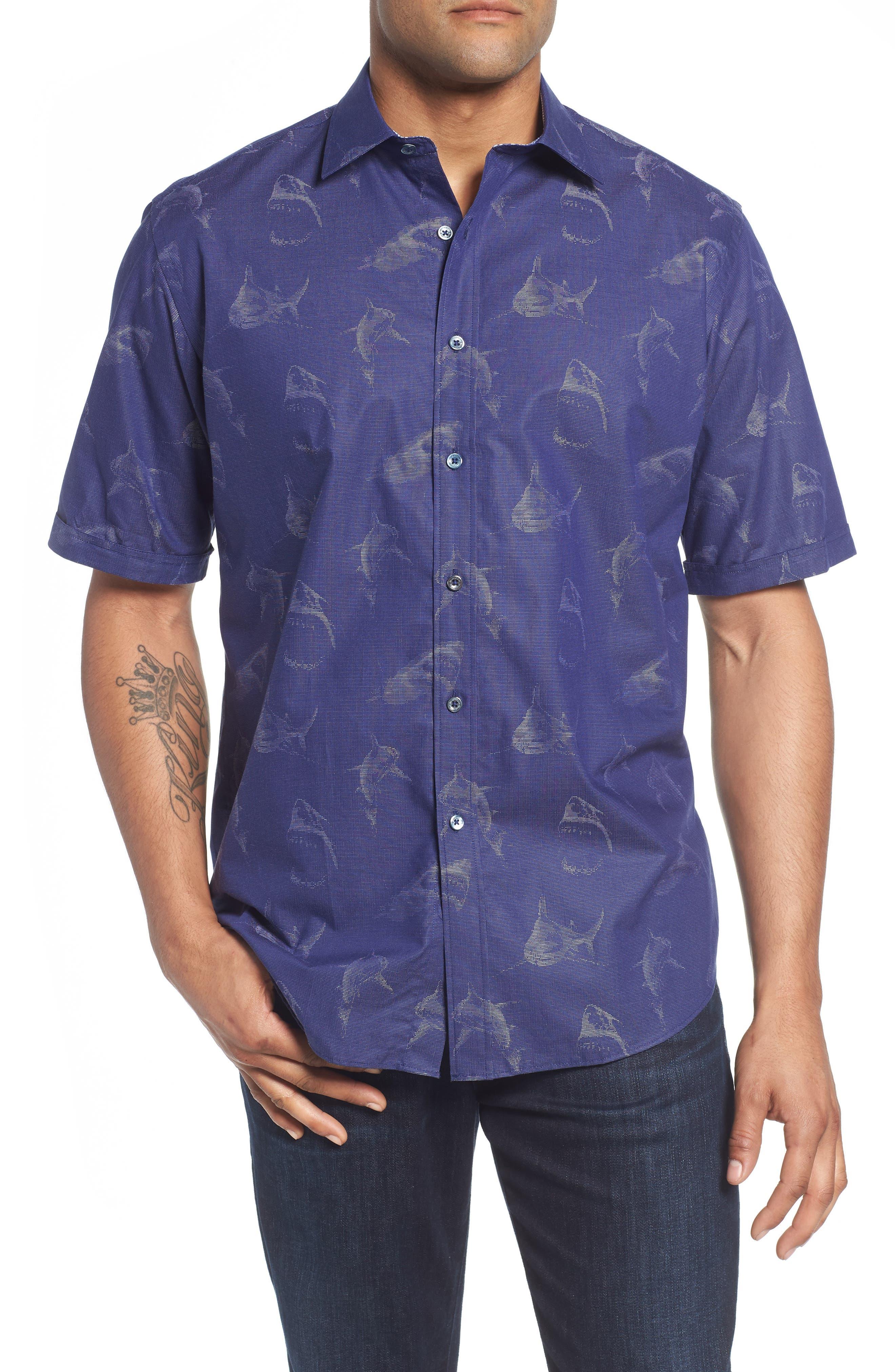 Classic Fit Shark Jacquard Sport Shirt,                         Main,                         color, 411