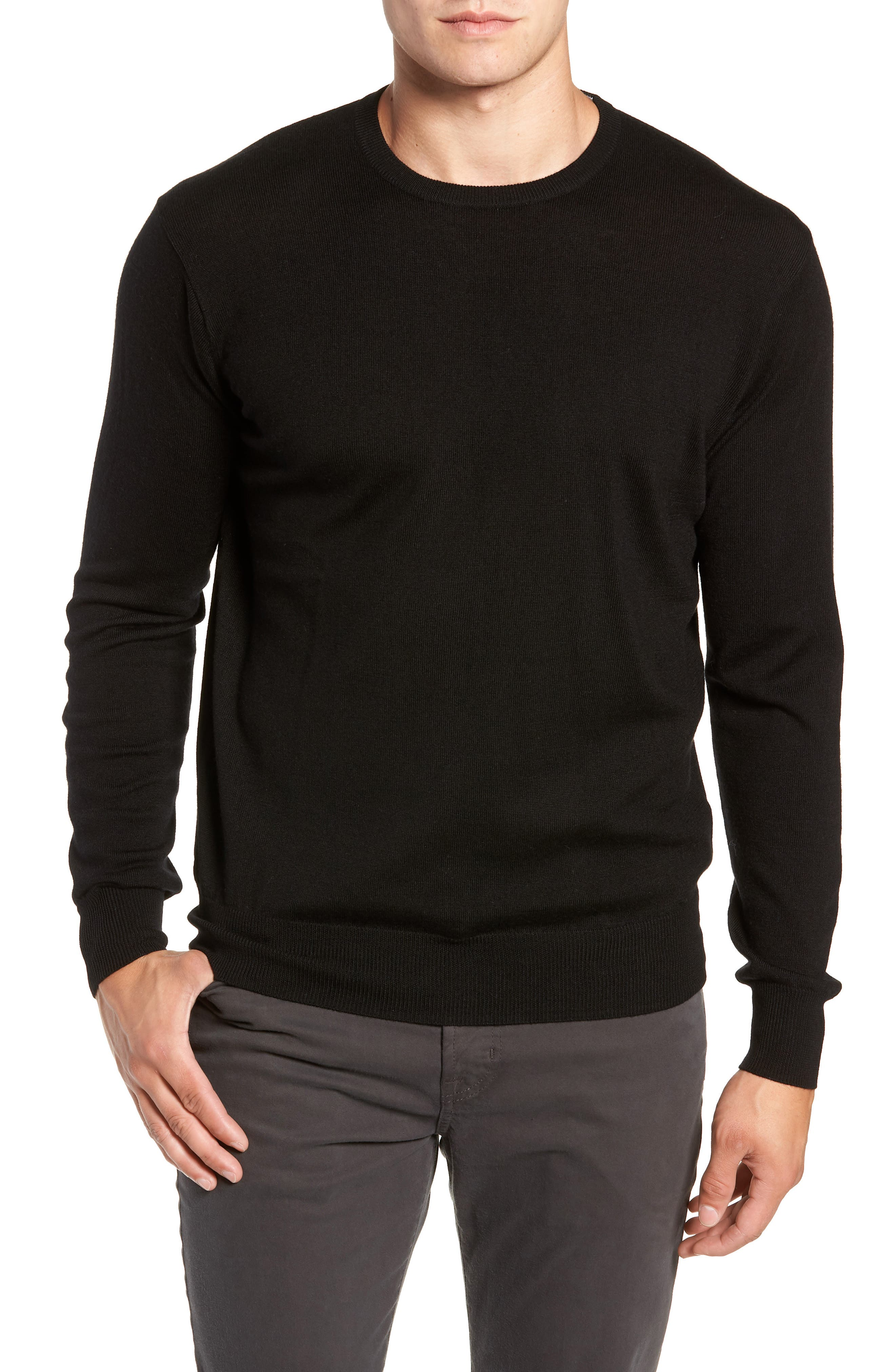 Crown Wool & Silk Sweater,                         Main,                         color, BLACK
