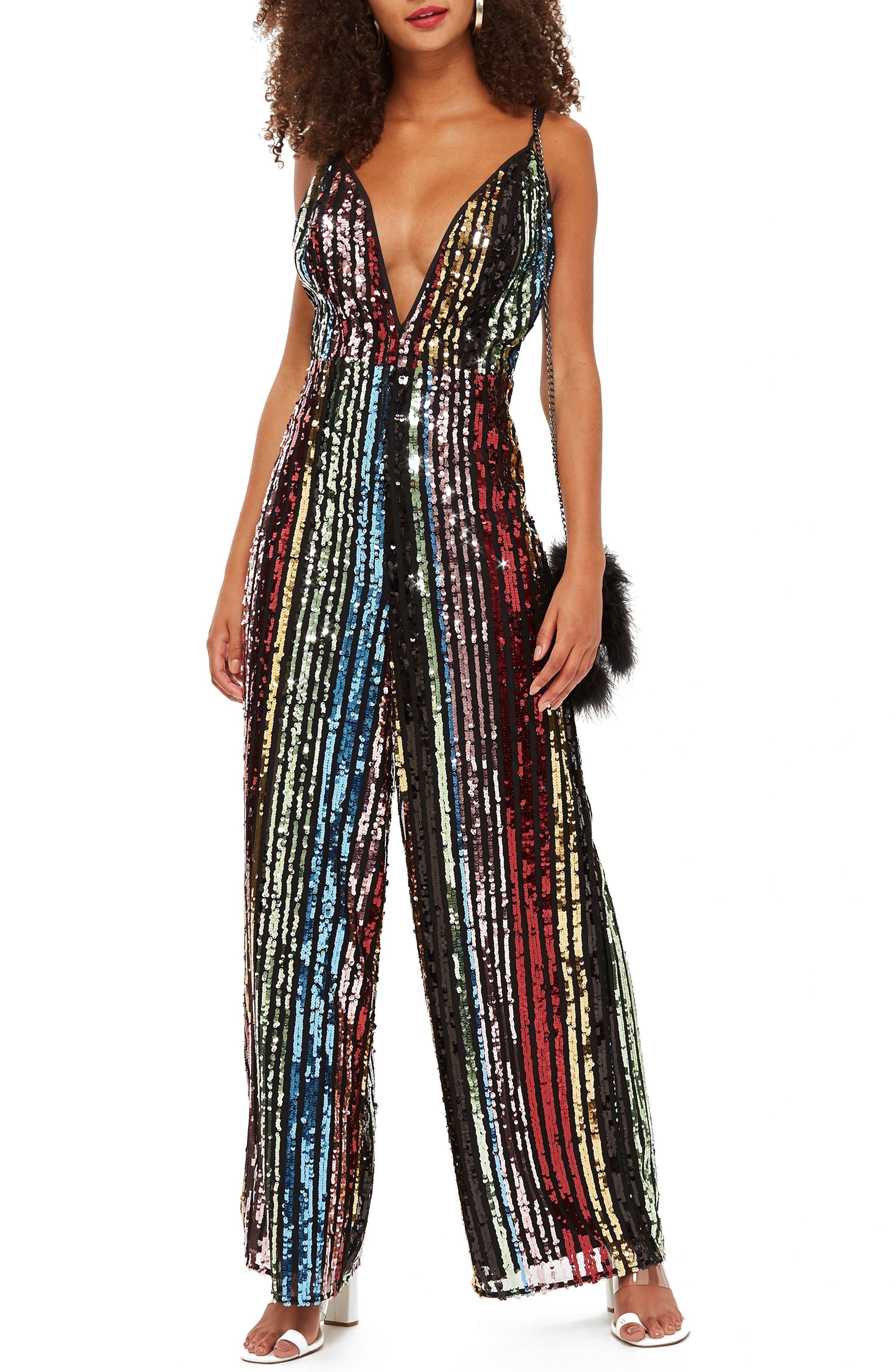 Vintage High Waisted Trousers, Sailor Pants, Jeans Womens Topshop Rainbow Sequin Jumpsuit $119.97 AT vintagedancer.com