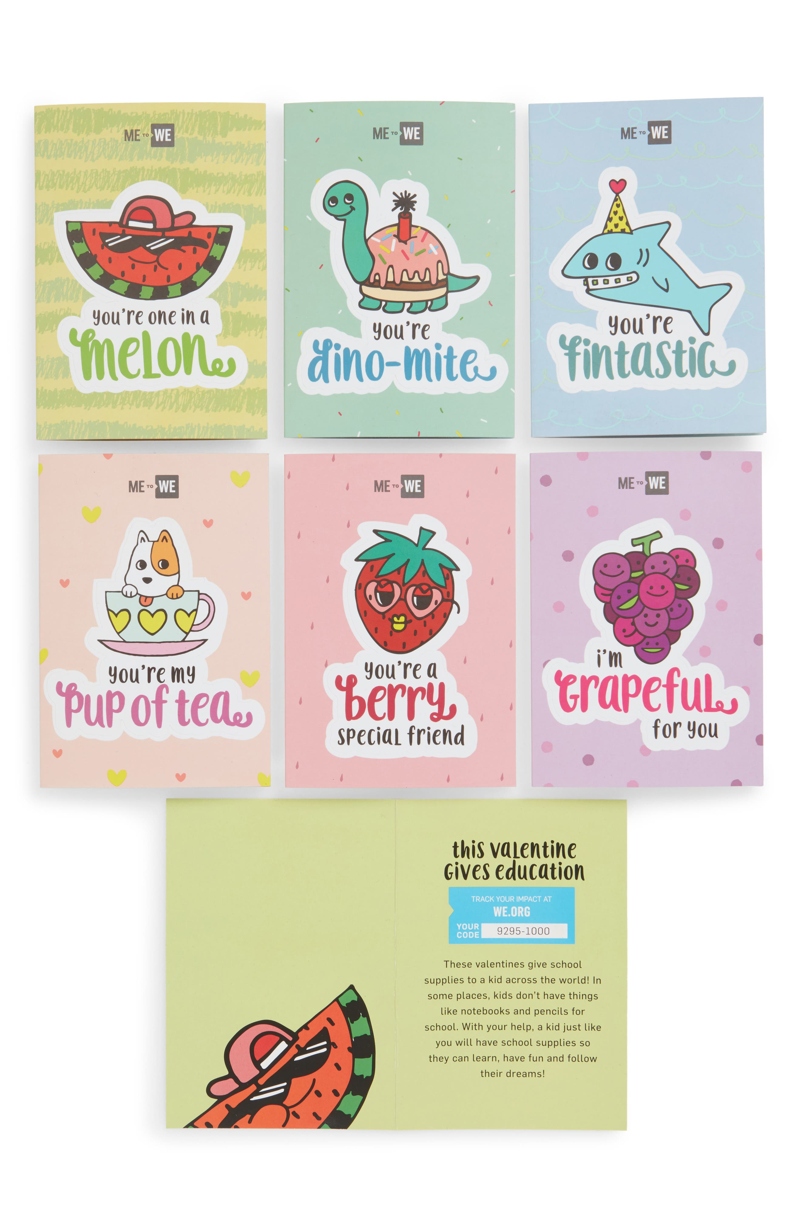 Set of 30 Valentine's Day Sticker Cards,                             Main thumbnail 1, color,                             PINK
