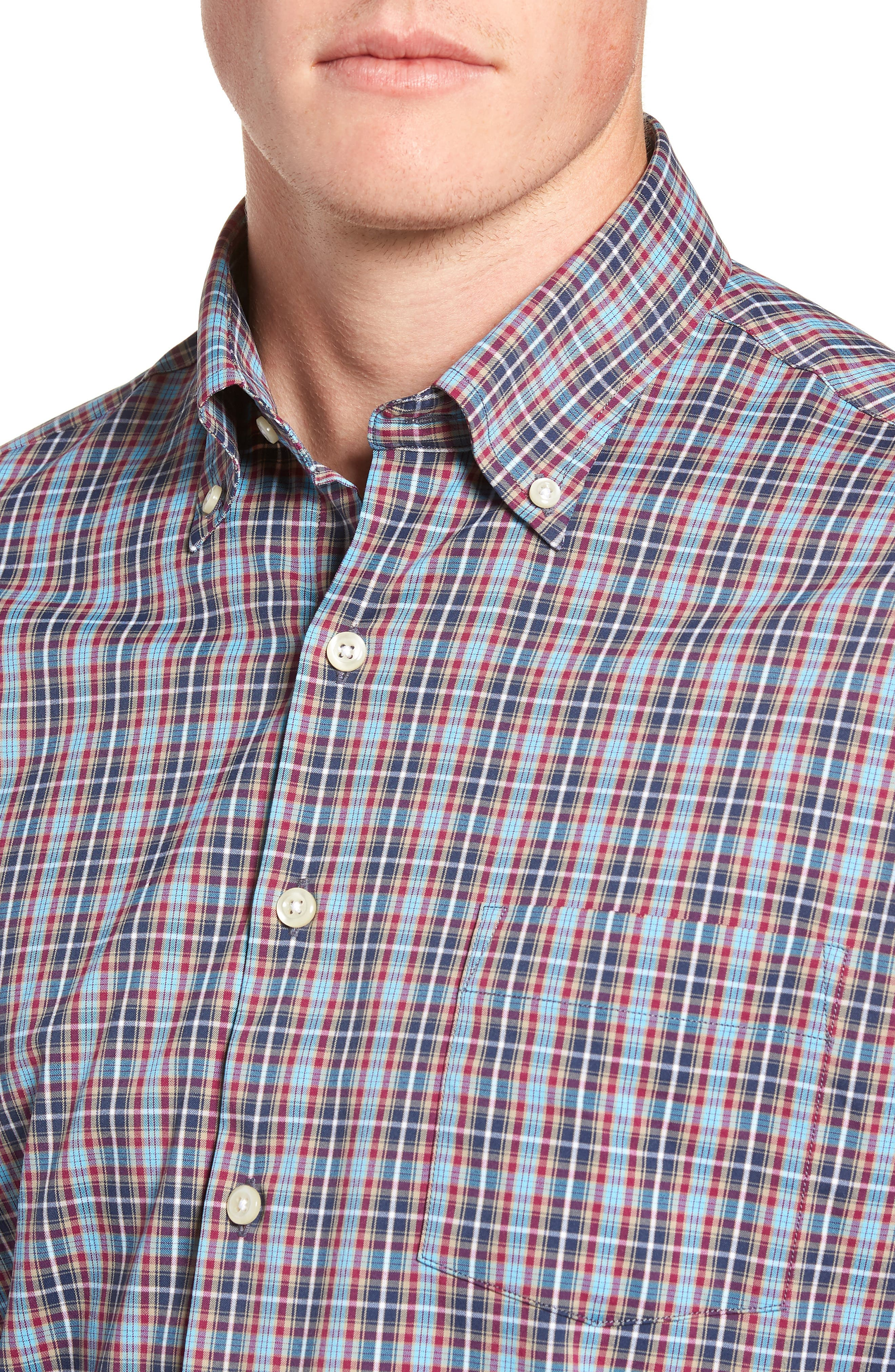 Clyde Plaid Performance Sport Shirt,                             Alternate thumbnail 2, color,                             NAVY