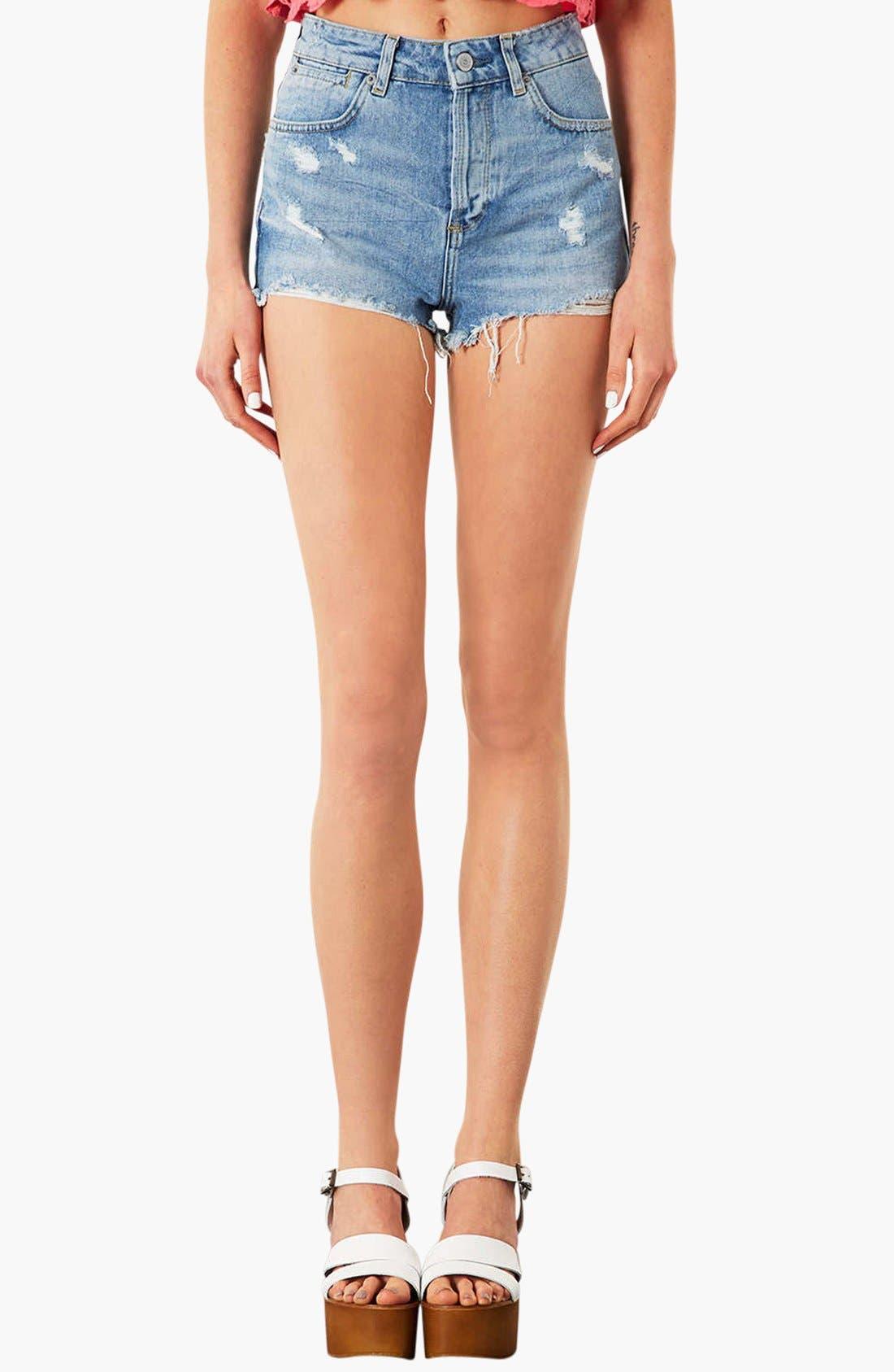 TOPSHOP,                             Moto 'Ruthie' Distressed Denim Shorts,                             Main thumbnail 1, color,                             420