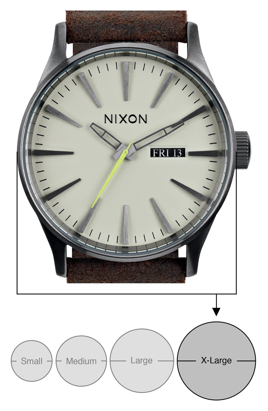 The Sentry Leather Strap Watch, 42mm,                             Alternate thumbnail 100, color,