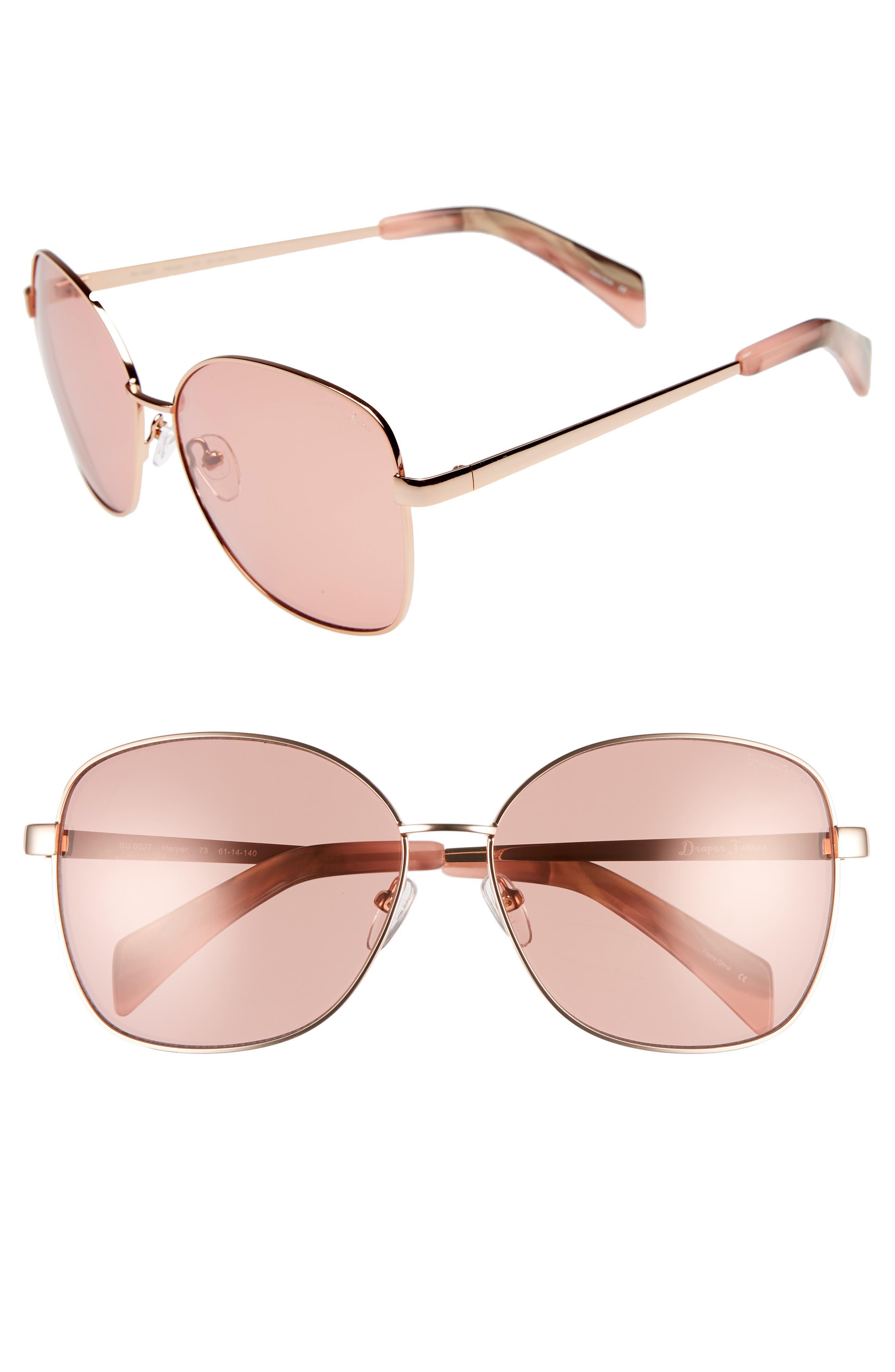 61mm Square Sunglasses,                             Main thumbnail 1, color,                             ROSE GOLD