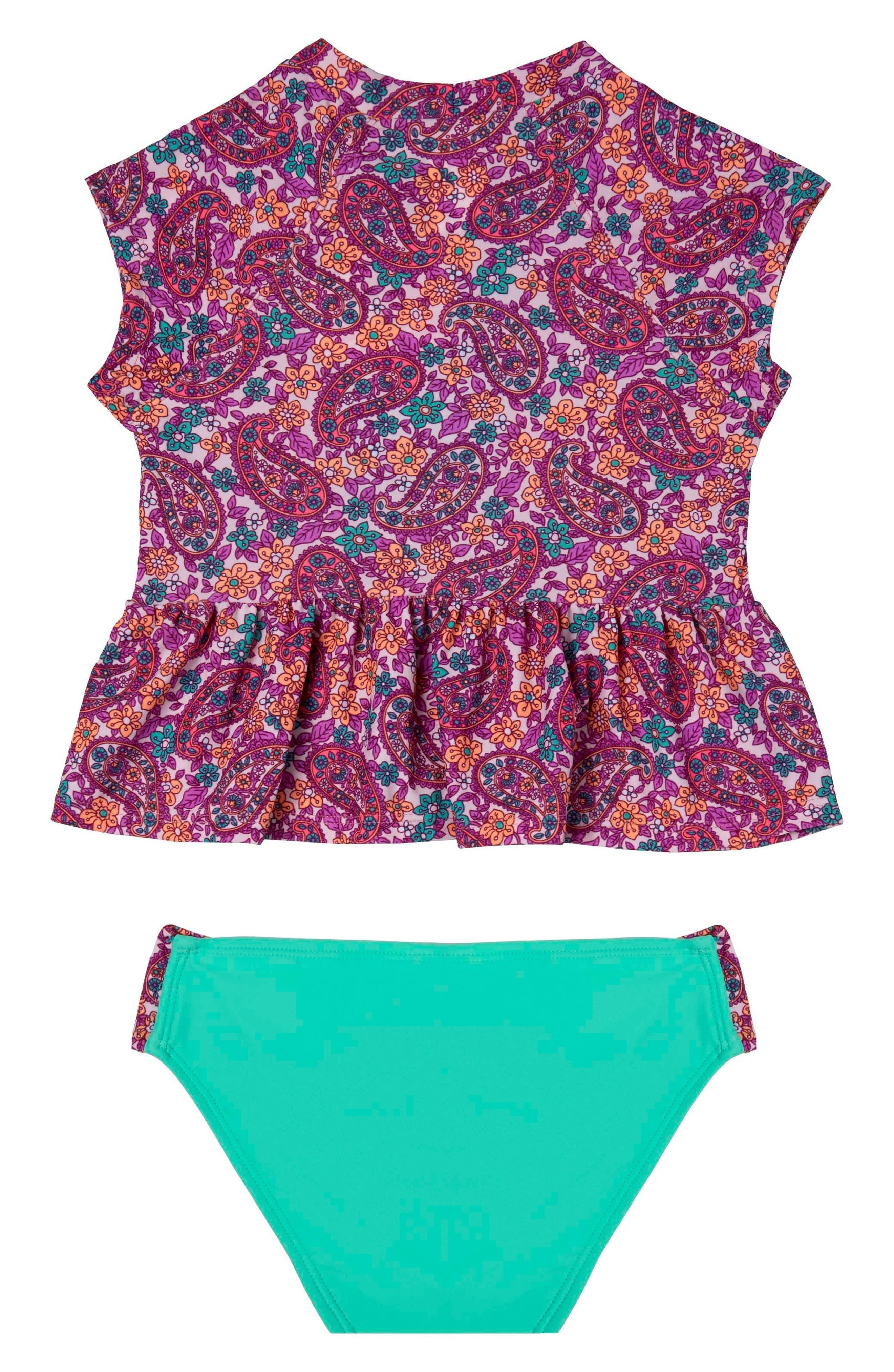 Paisley Dream Two-Piece Rashguard Swimsuit,                             Main thumbnail 1, color,                             658