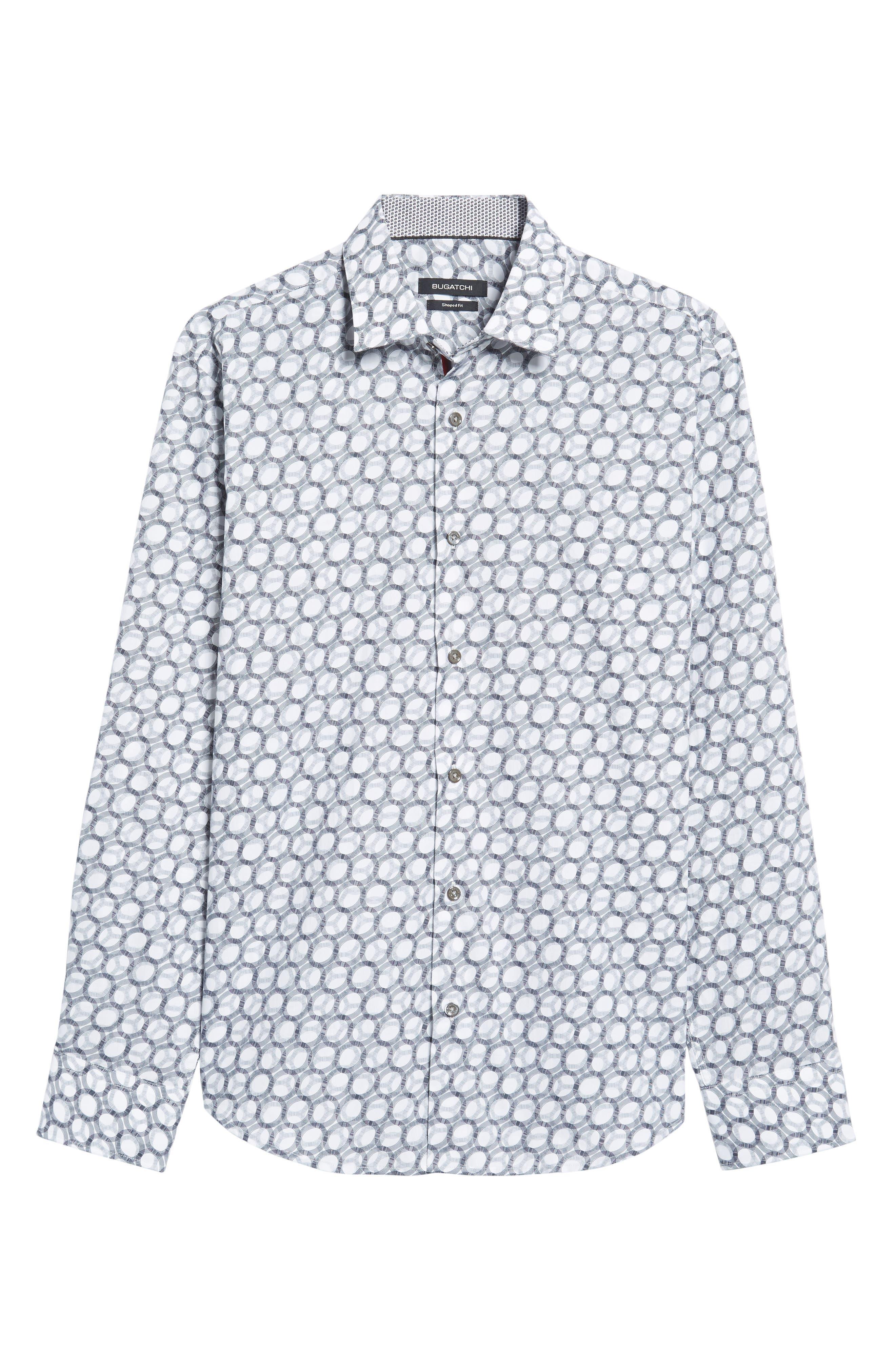 Shaped Fit Optic Print Sport Shirt,                             Alternate thumbnail 6, color,                             100