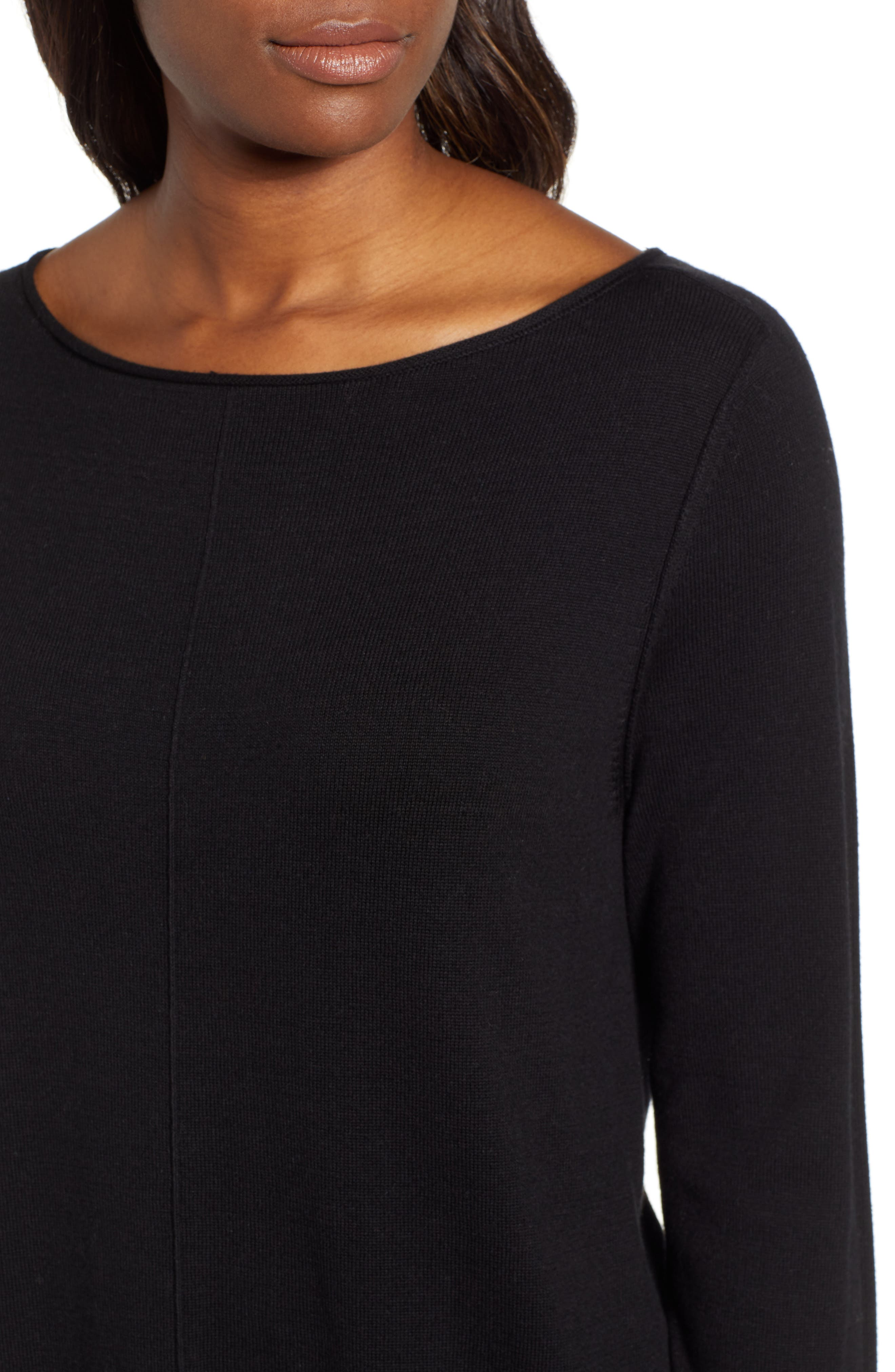 Seam Detail Shirttail Tunic,                             Alternate thumbnail 4, color,                             BLACK