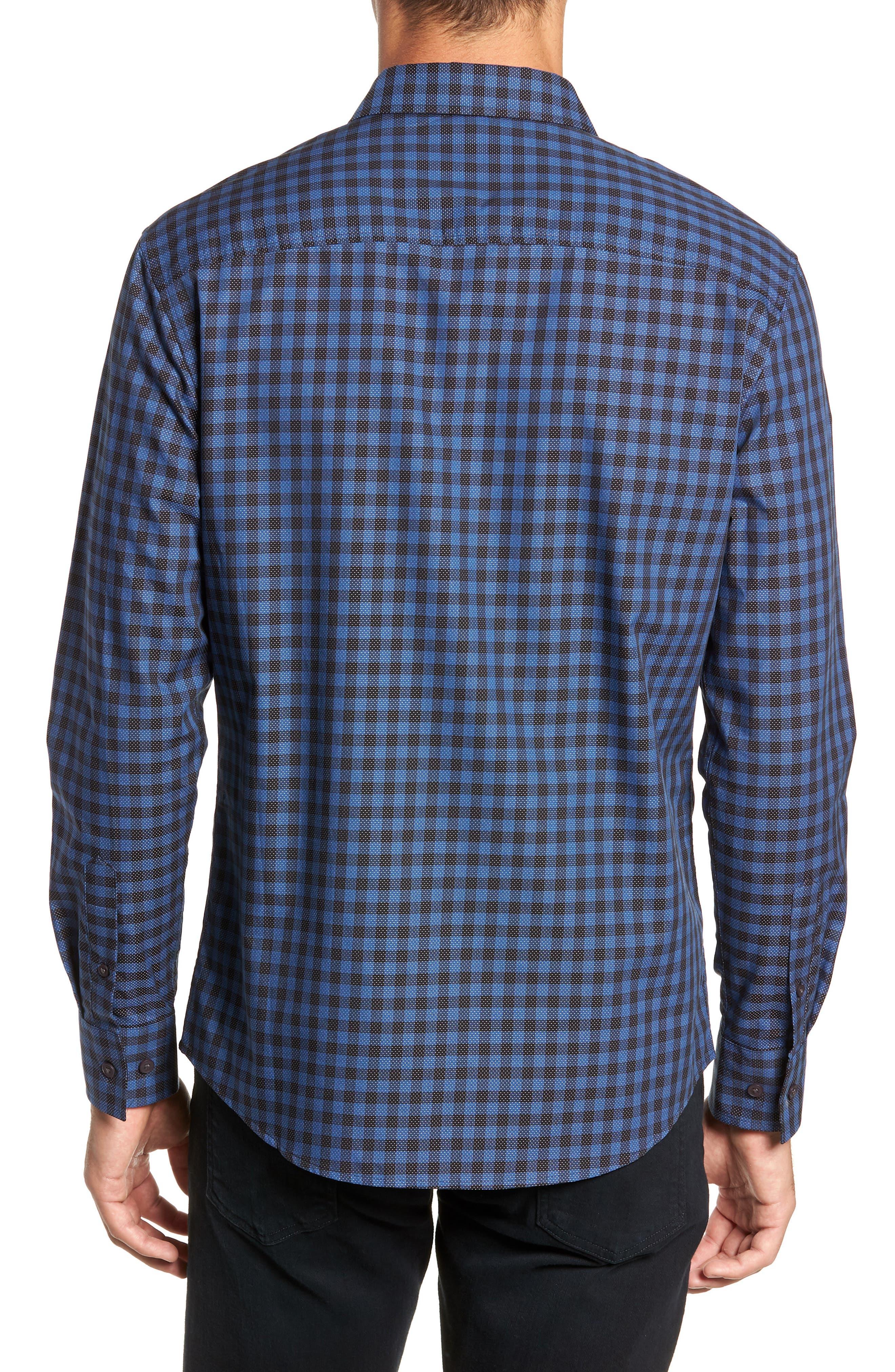 Long Sleeve Check & Dobby Sport Shirt,                             Alternate thumbnail 3, color,                             BLUE BLACK CHECK WHITE DOBBY