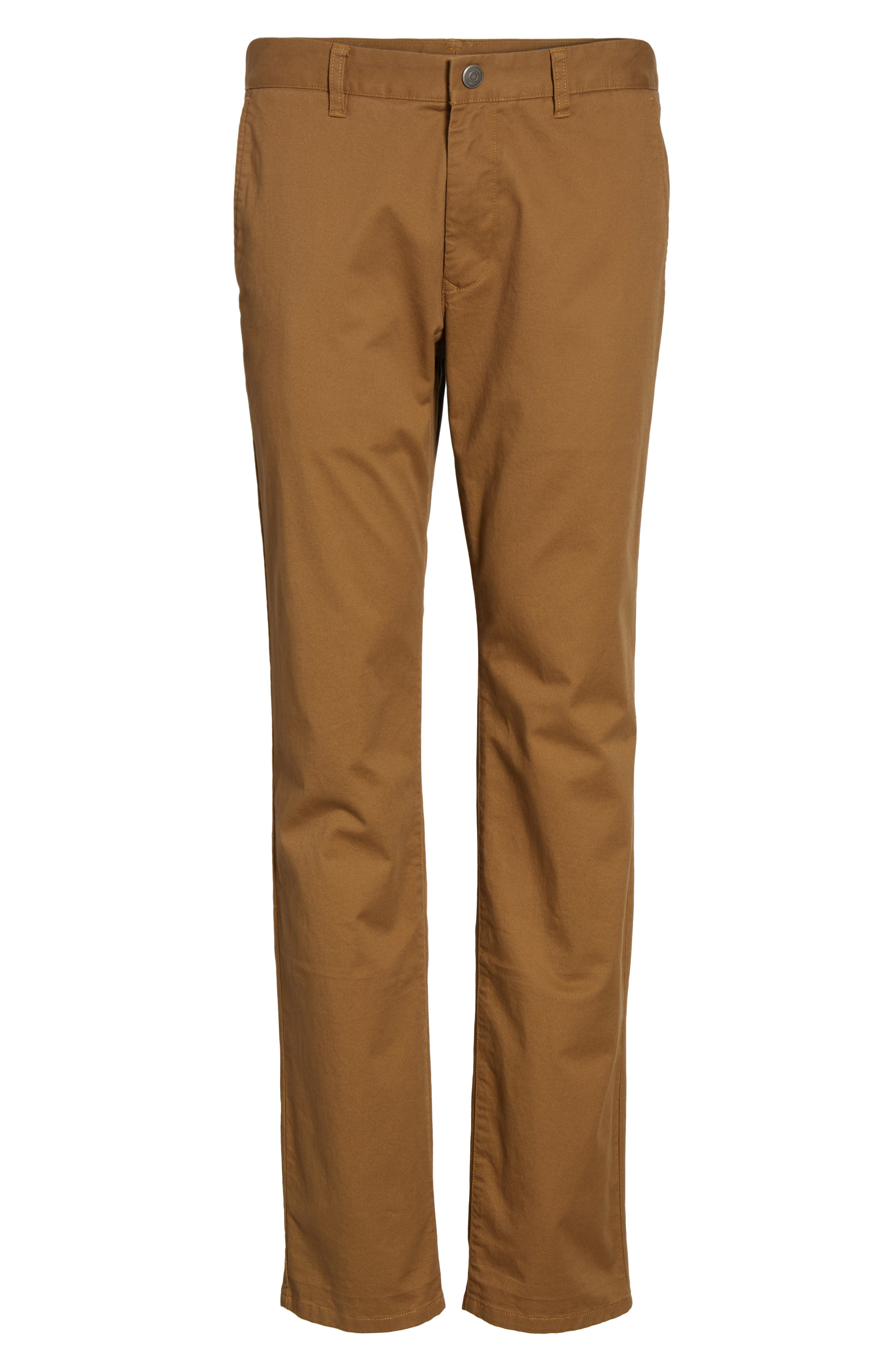 Slim Fit Stretch Washed Chinos,                             Alternate thumbnail 6, color,                             CHESTNUTS