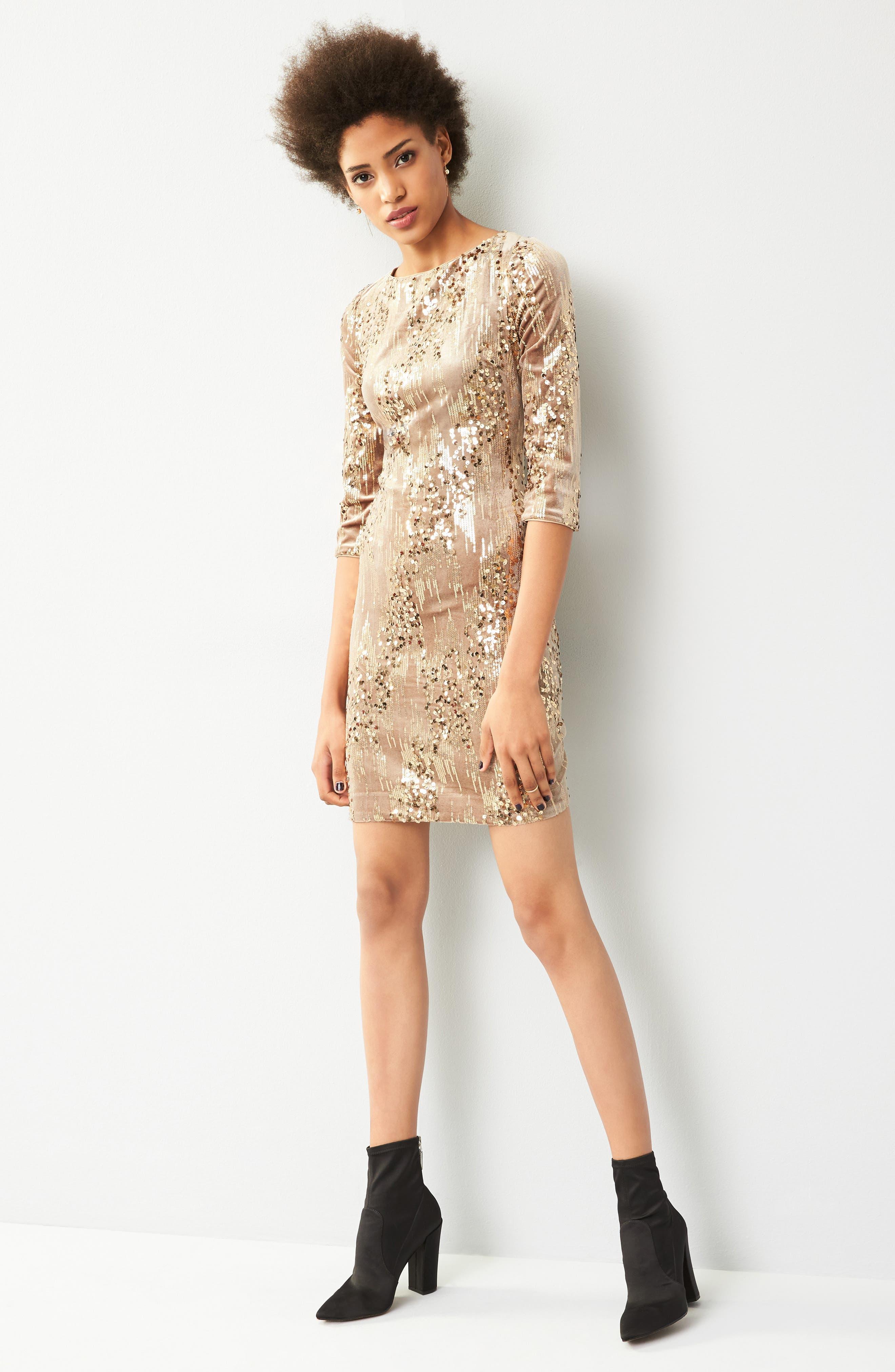 Sequin & Velvet Sheath Dress,                             Alternate thumbnail 7, color,