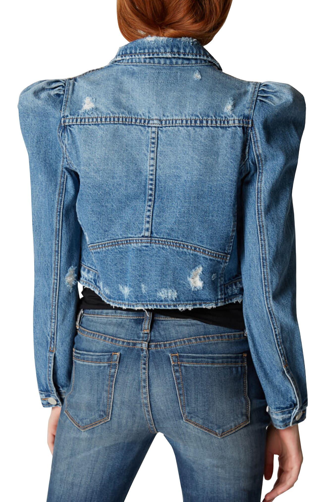 Crop Puff Shoulder Denim Jacket,                             Alternate thumbnail 2, color,