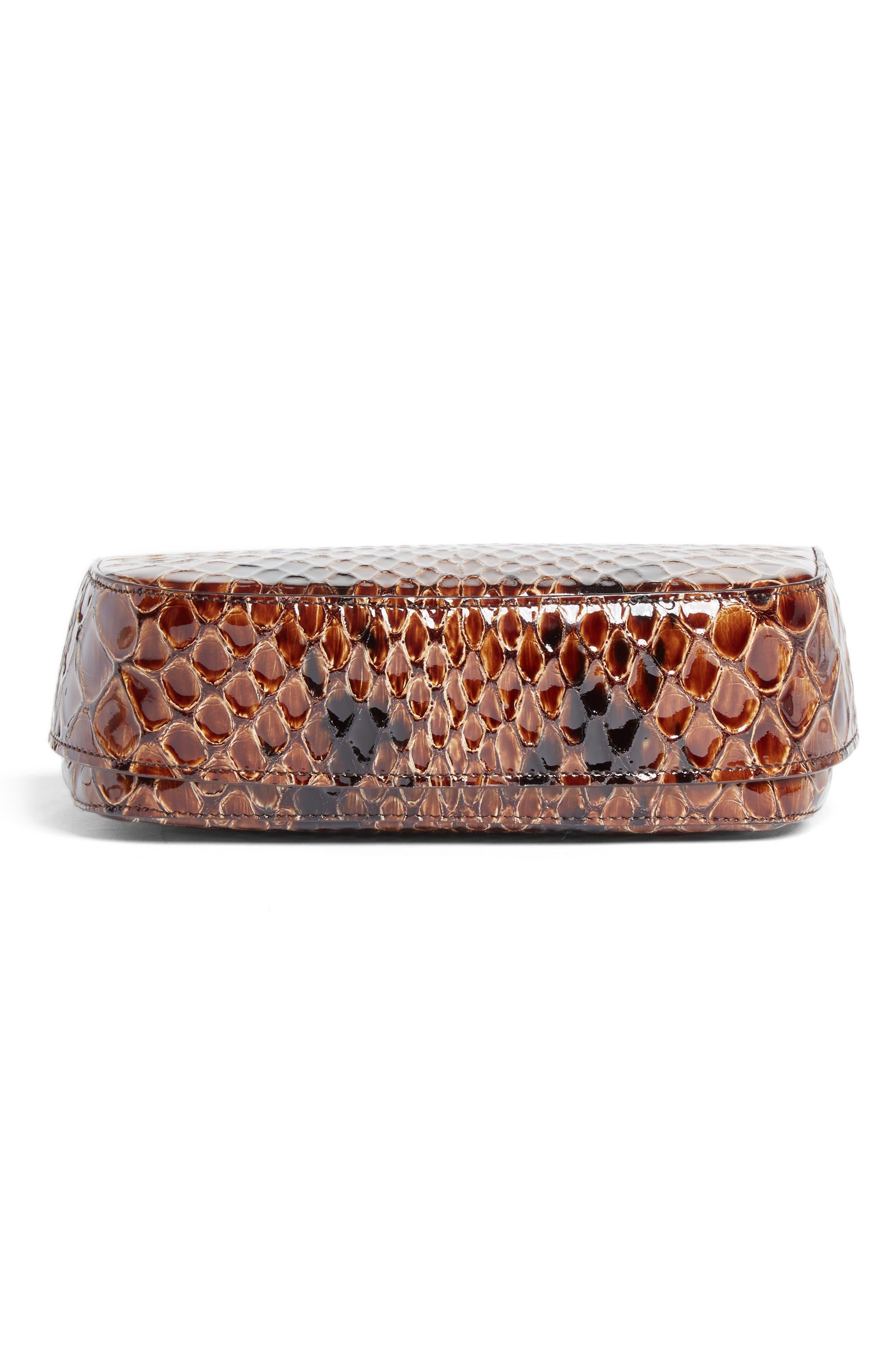 Small Snake Embossed Leather Box Bag,                             Alternate thumbnail 6, color,                             200