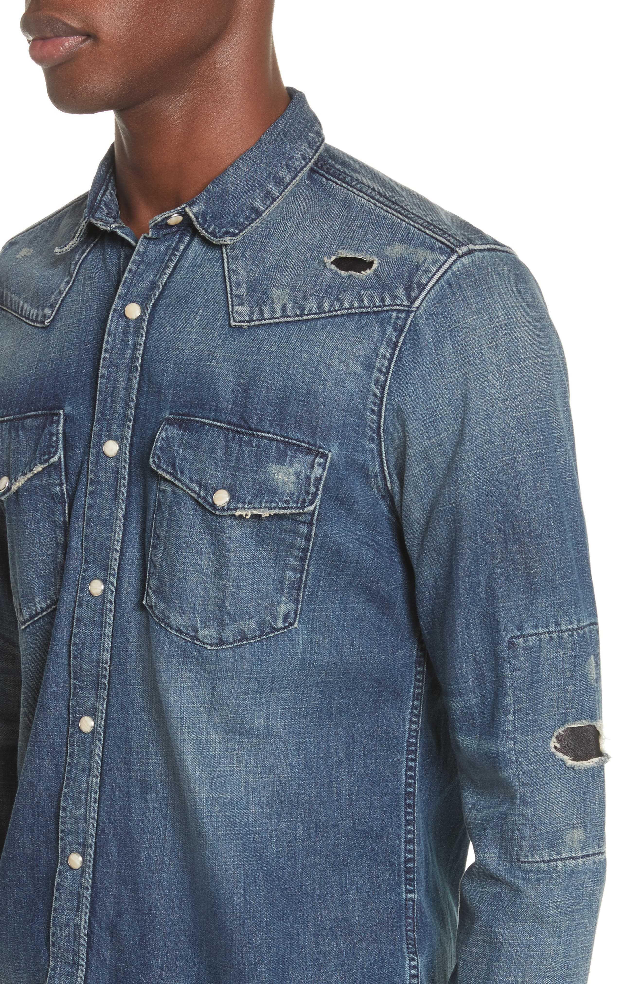 Distressed Denim Western Shirt,                             Alternate thumbnail 4, color,                             400