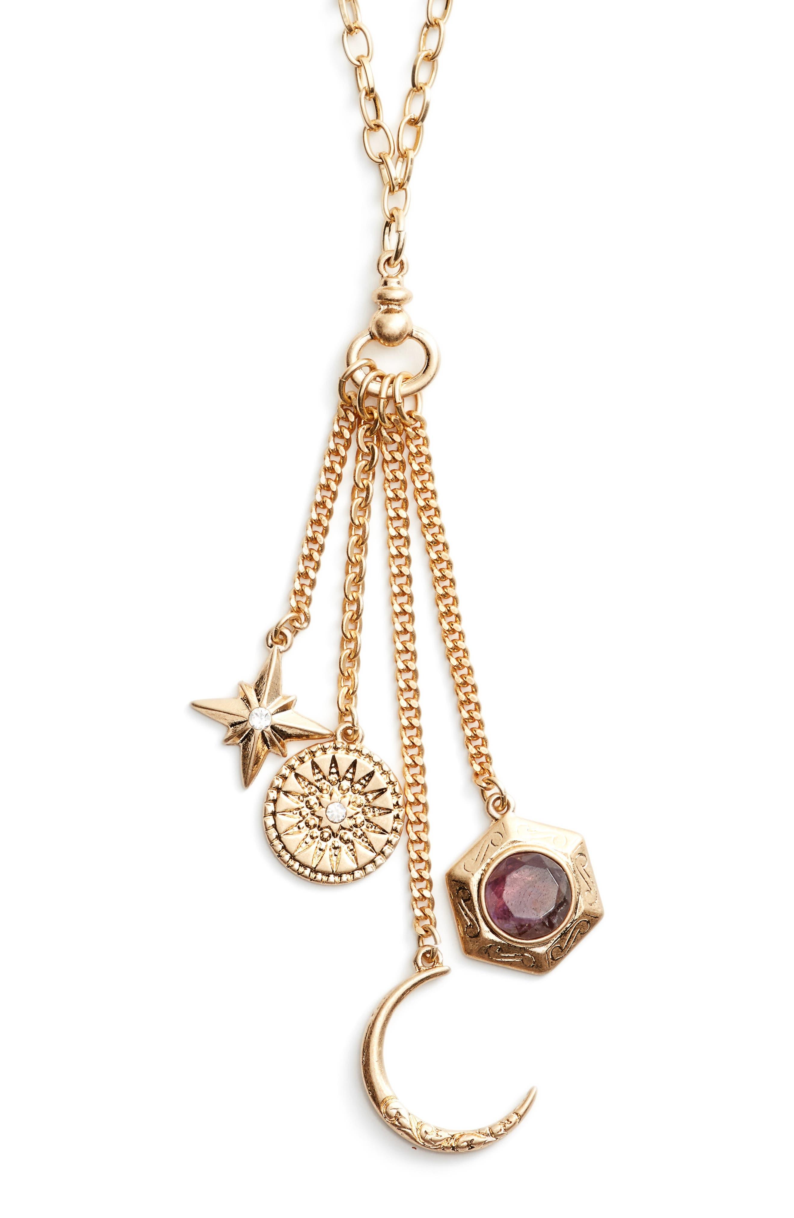 Multi Charm Y-Necklace,                         Main,                         color, 030