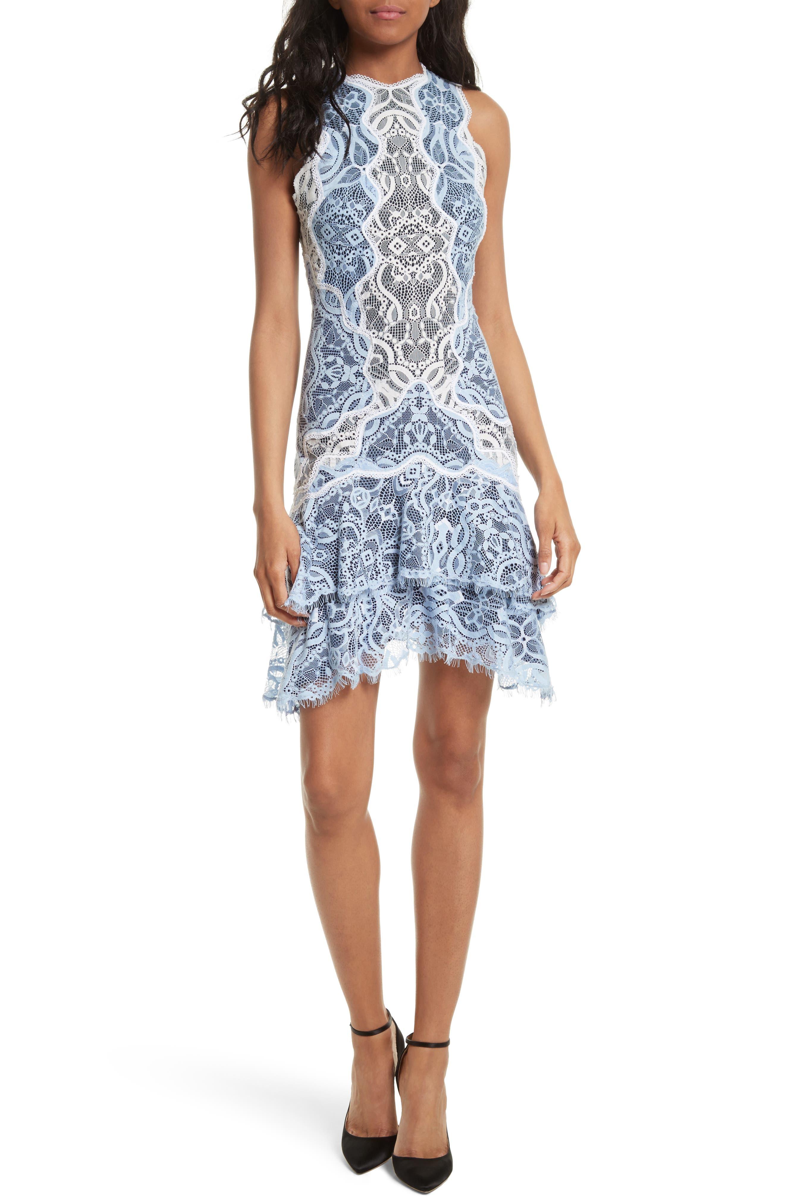 Two-Tone Lace Ruffle Hem Minidress,                             Main thumbnail 1, color,                             499