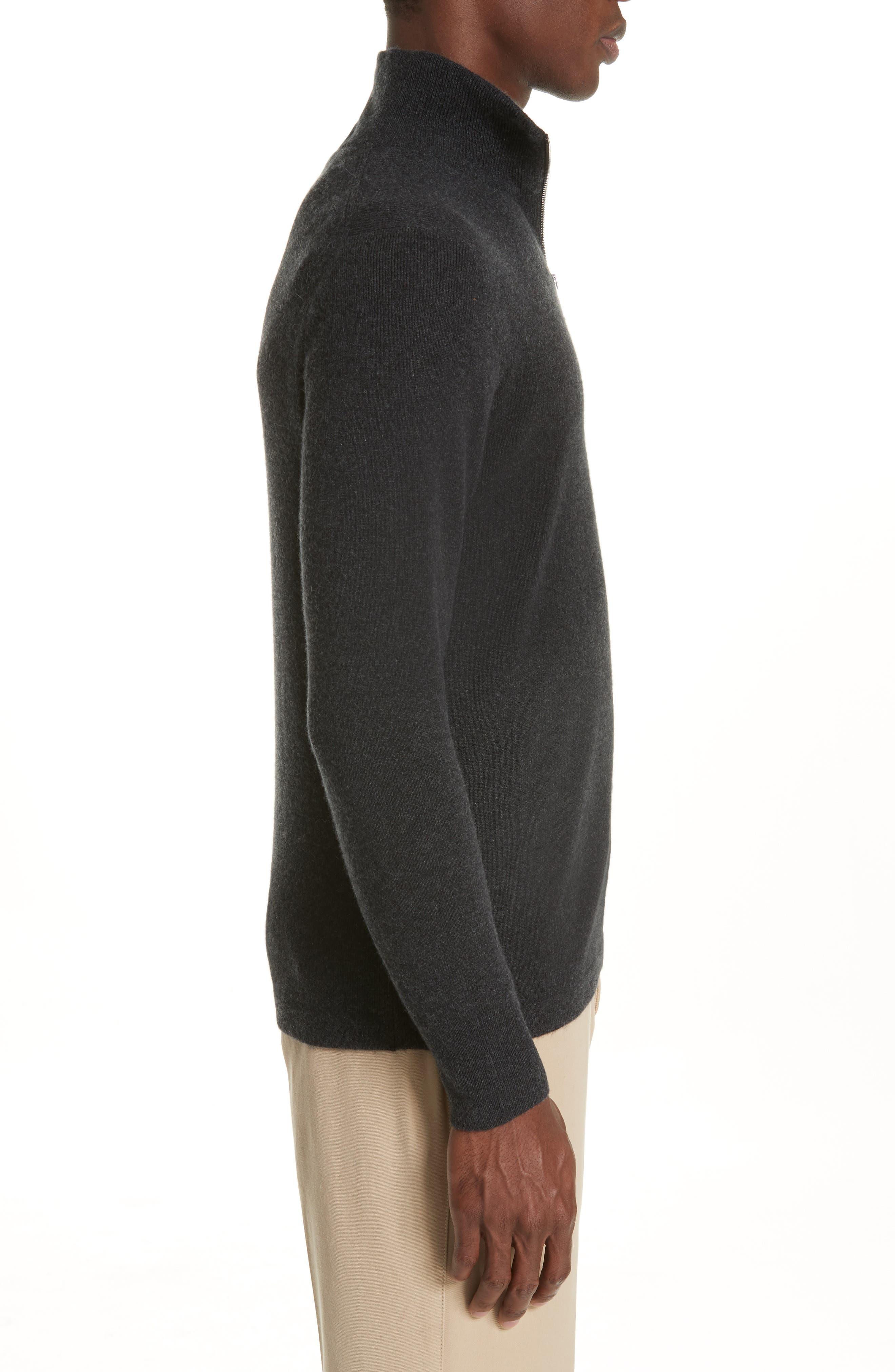 Hendon Quarter Zip Cashmere Sweater,                             Alternate thumbnail 3, color,                             CHARCOAL MELANGE