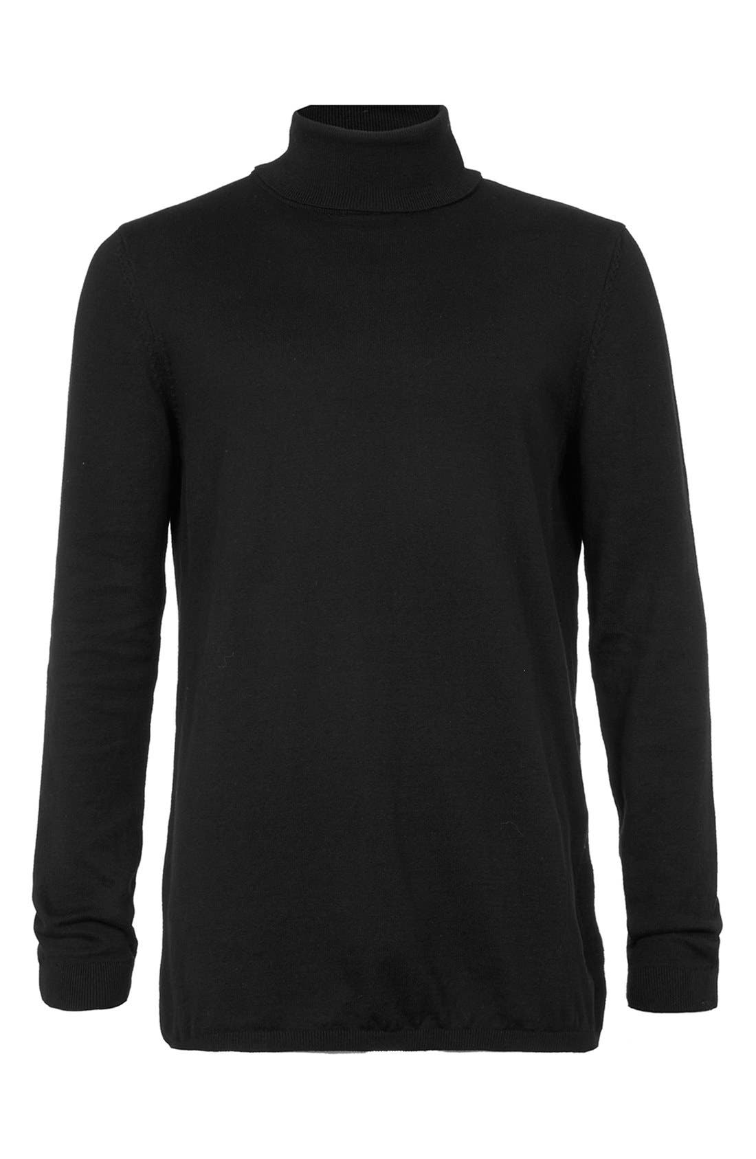 Longline Turtleneck Sweater,                             Alternate thumbnail 5, color,                             001