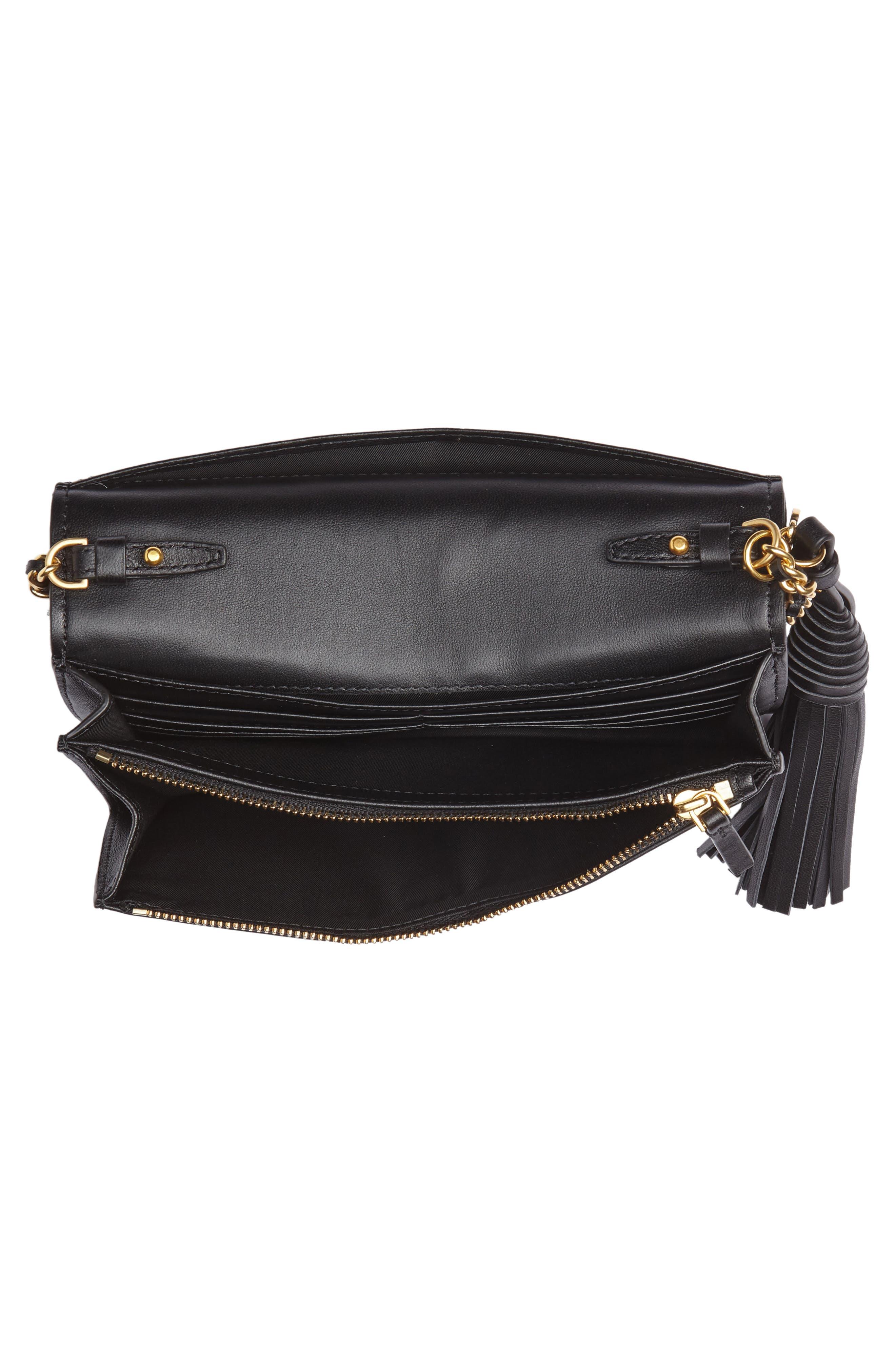 Fleming Leather Wallet/Crossbody,                             Alternate thumbnail 4, color,                             BLACK