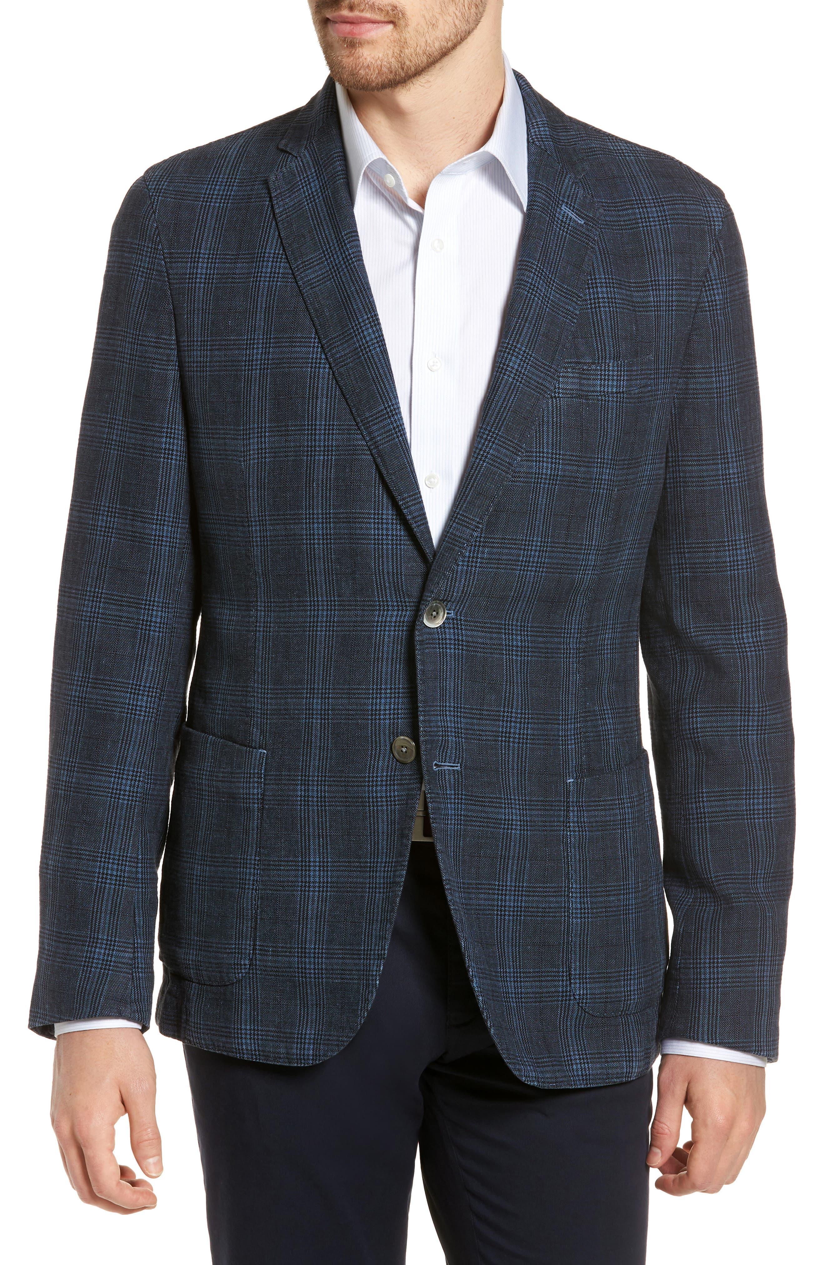 Hanry-D Trim Fit Plaid Linen & Cotton Sport Coat,                         Main,                         color, BLUE