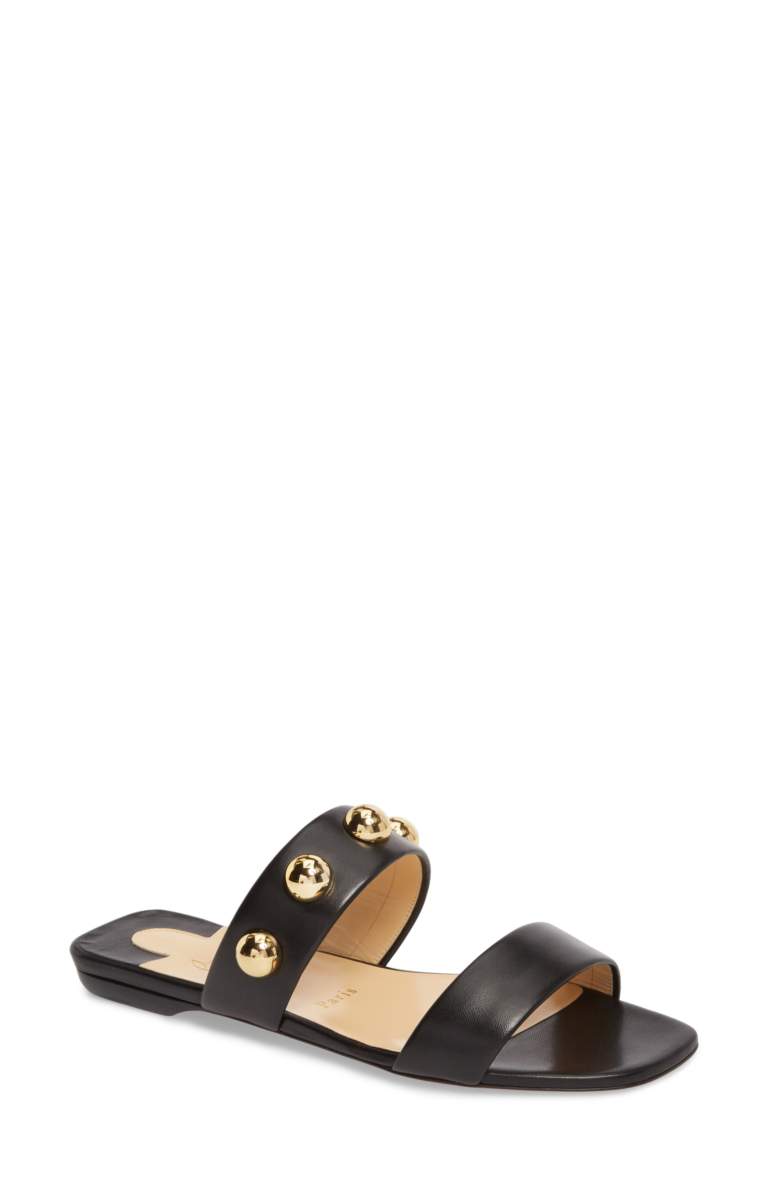 Simple Bille Ornament Slide Sandal,                         Main,                         color, BLACK/ GOLD