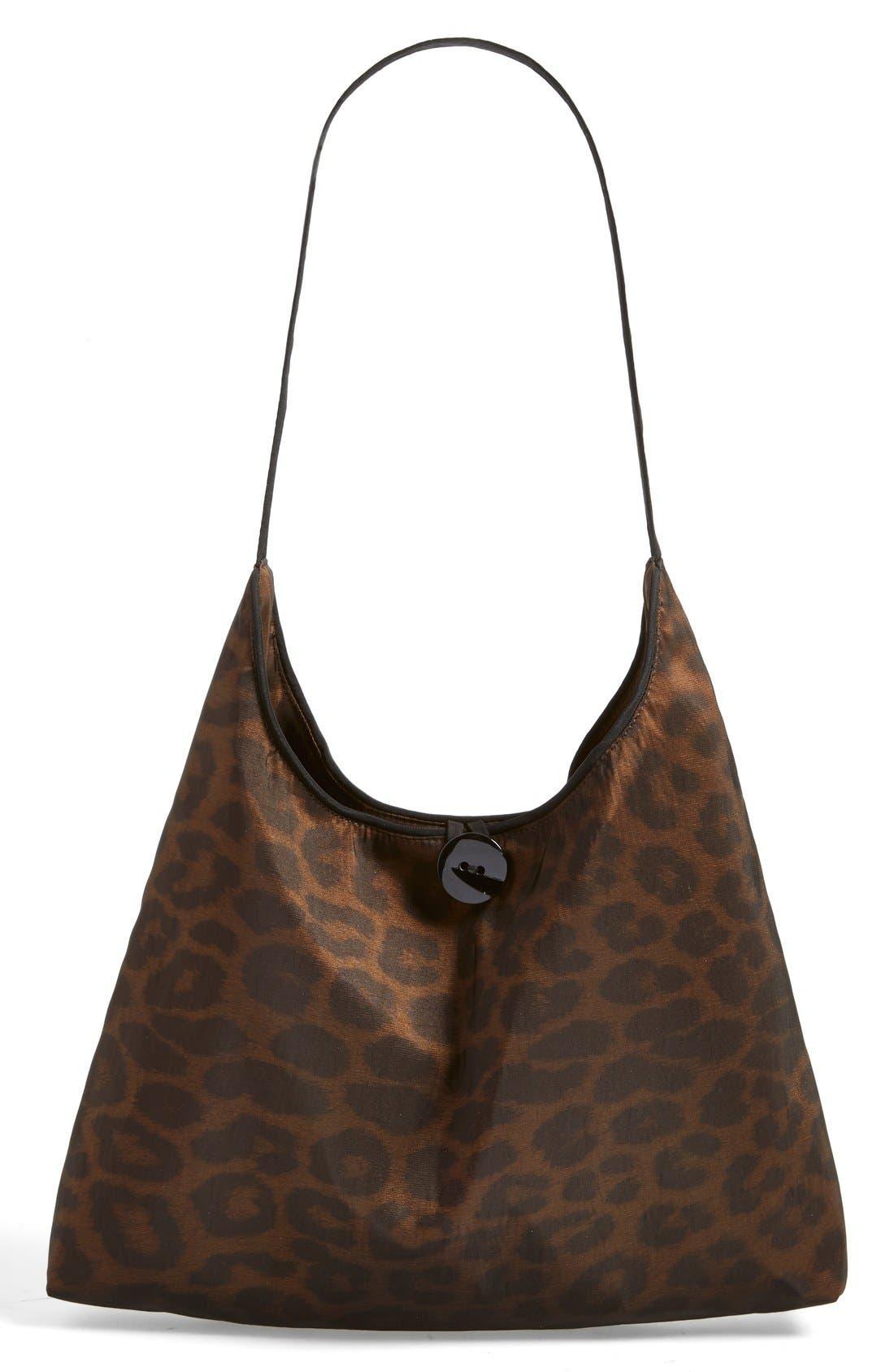'Mini Donatella Leopard' Reversible Pleat Hood Packable Travel Coat,                             Alternate thumbnail 7, color,                             202