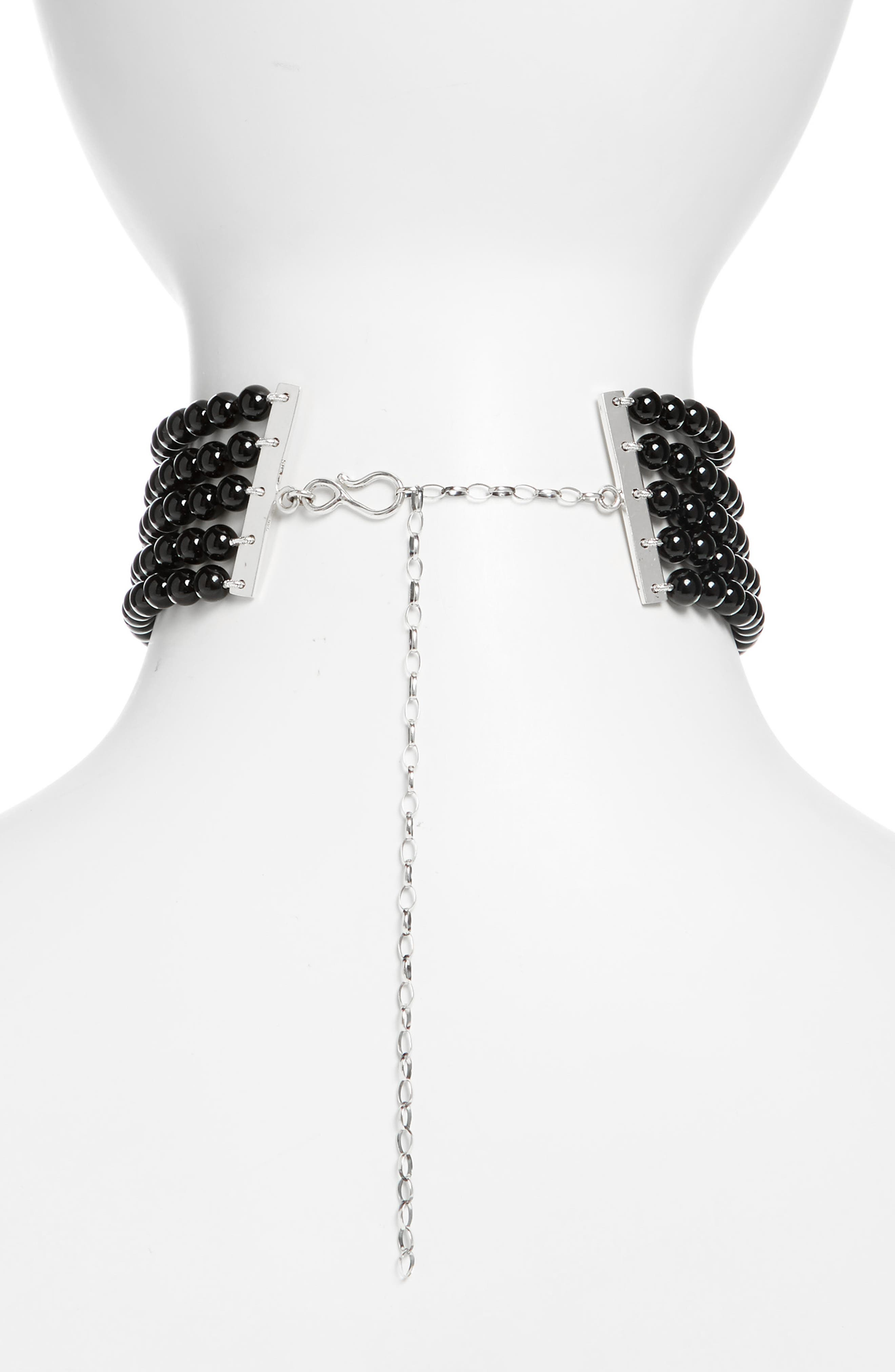 Onyx & Sterling Silver Choker,                             Alternate thumbnail 3, color,                             STERLING SILVER